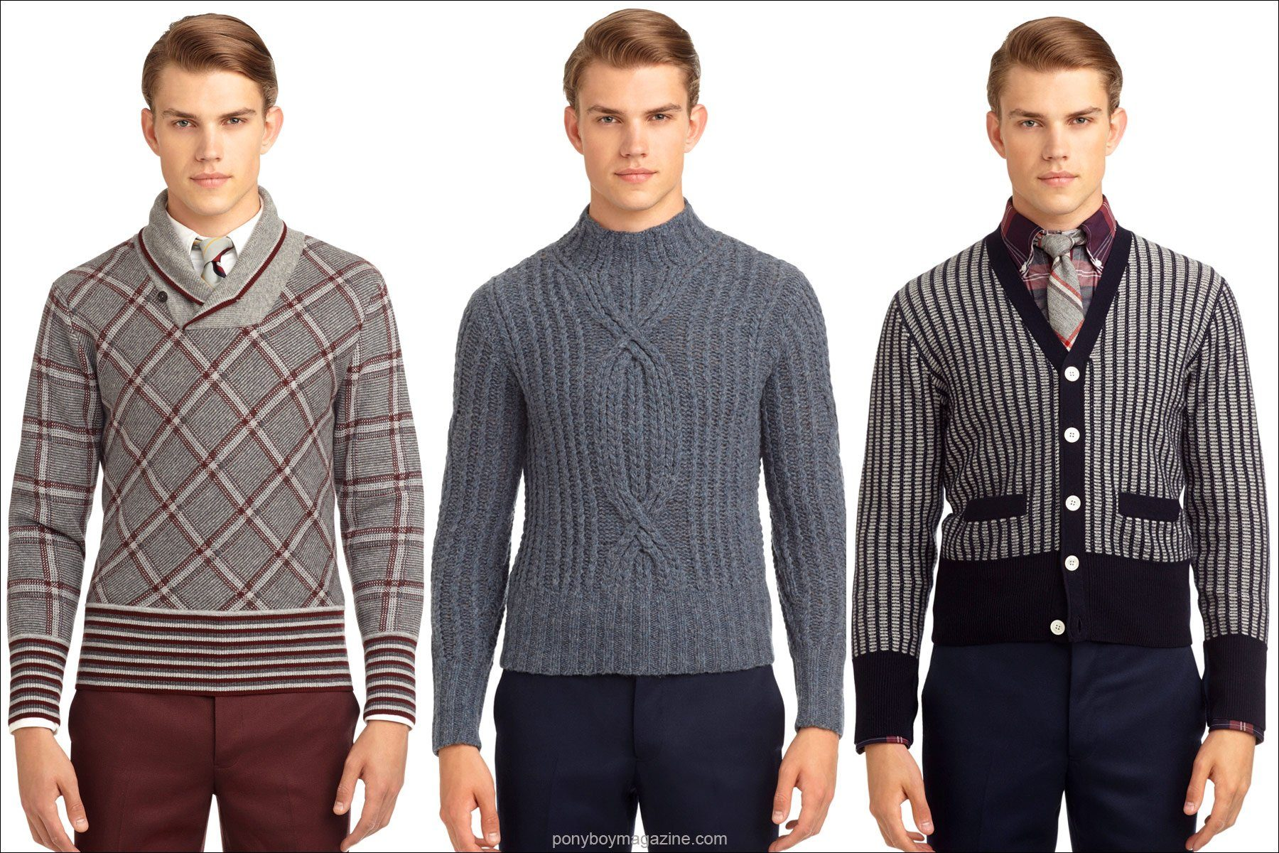 Men s 1950 s inspired sweaters designed by thom browne for black