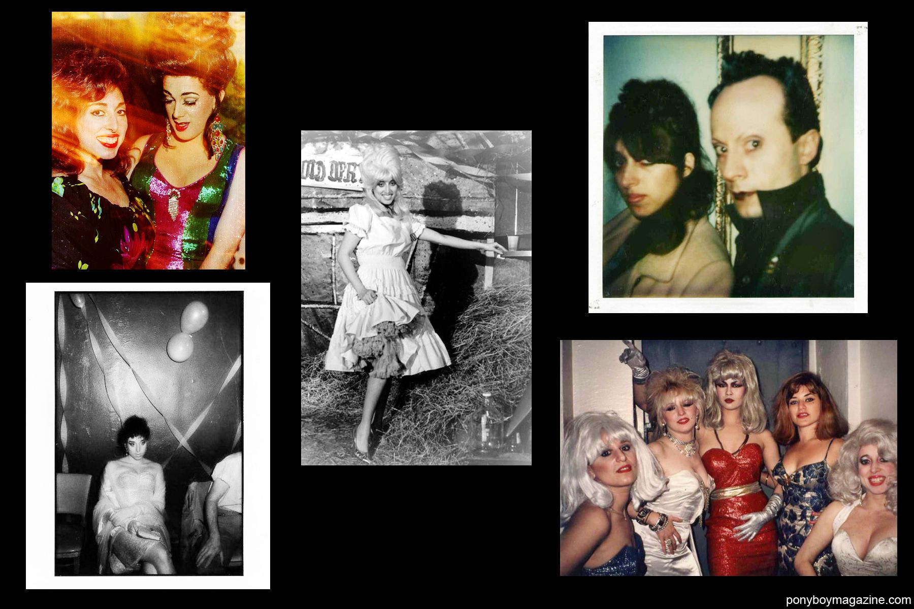 Assorted photos of Kay K and friends, including Klaus Nomi for Ponyboy Magazine.