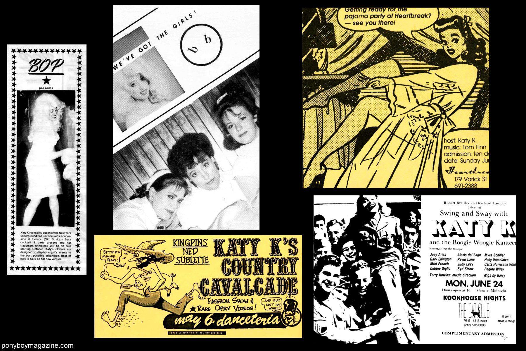80's vintage artwork of Katy K performances for Ponyboy Magazine.