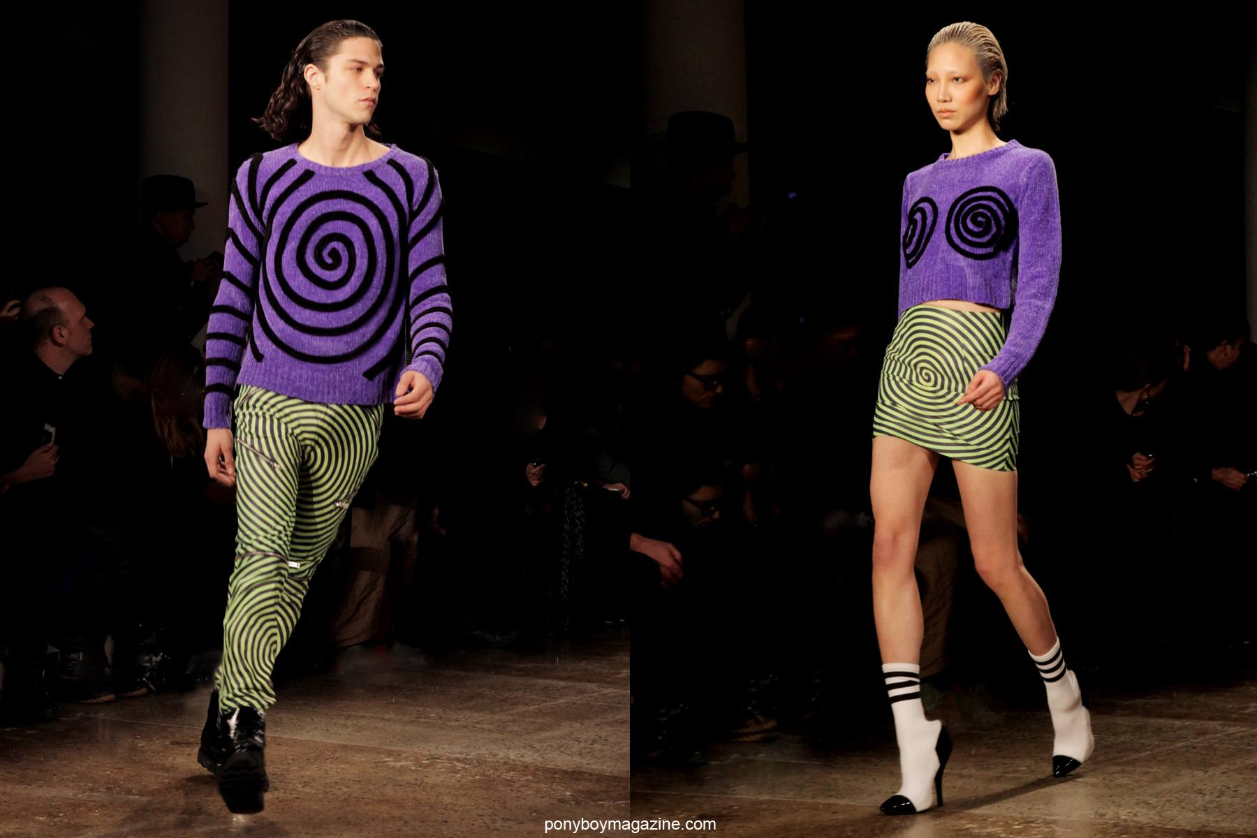 Models in psychedelic prints walk the runway at the Jeremy Scott A/W 2014 show in New York City at Milk Studios. Photographed by Alexander Thompson for Ponyboy Magazine.