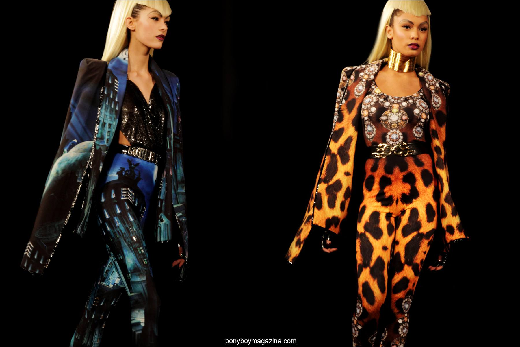 Elaborate prints on the runway at The Blonds A/W 2014 presentation at Milk Studios in New York City. Photographed by Alexander Thompson for Ponyboy Magazine.