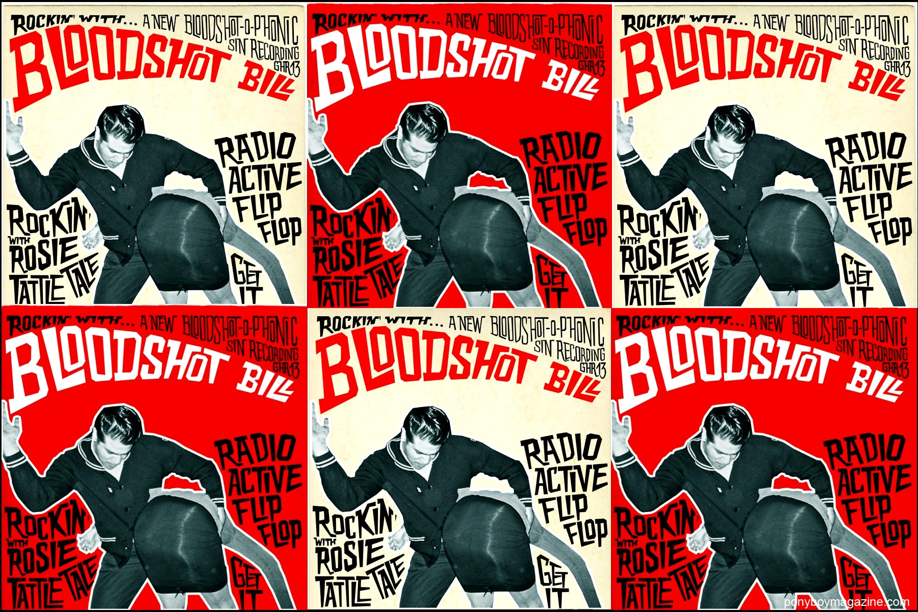 Bloodshot Bill album covers, a rockabilly artist with Norton Records, for Ponyboy Magazine in New York City.