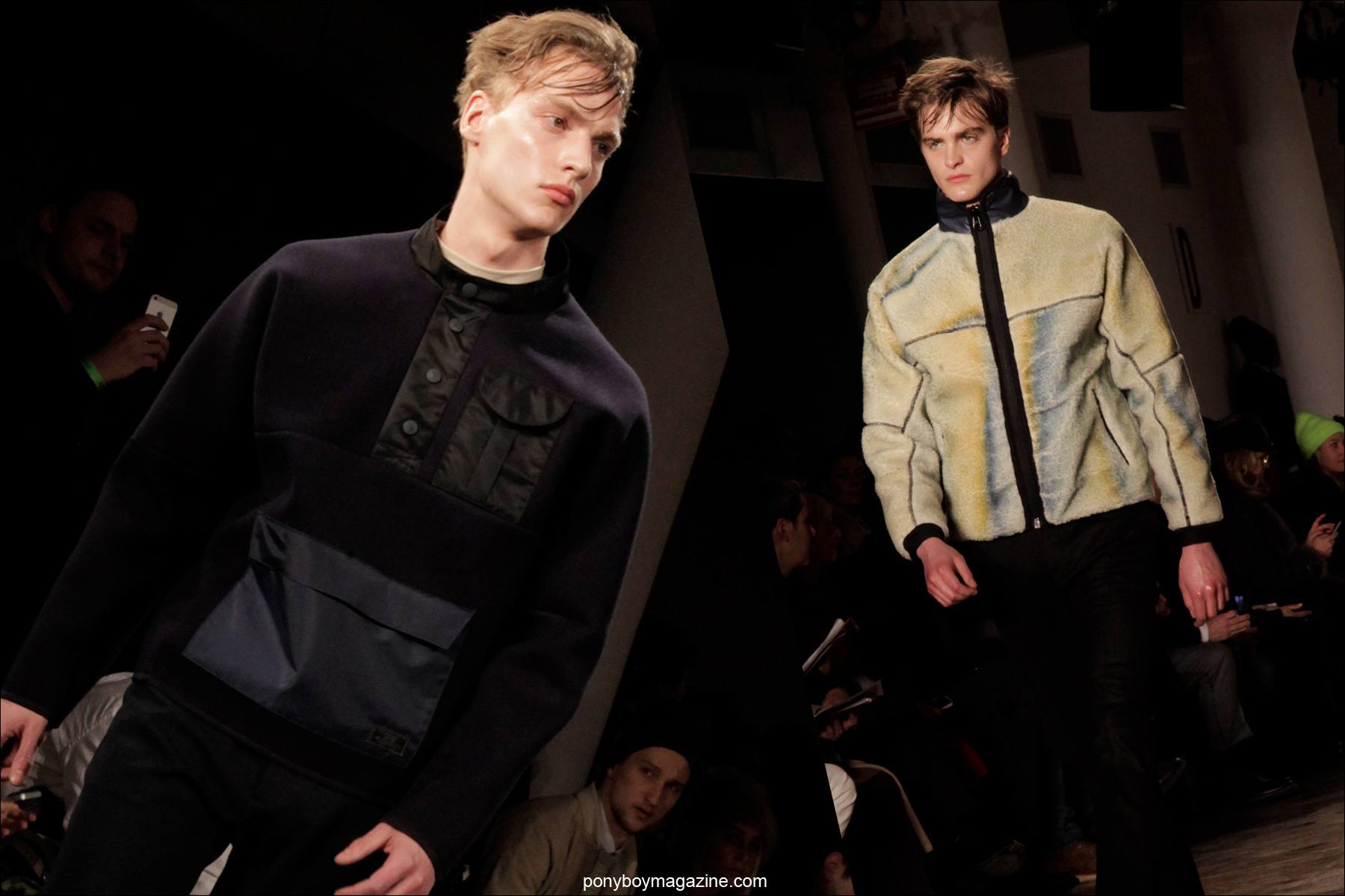 Models walk the runway for Patrik Ervell A/W 2014 Menswear Collection at Milk Studios in New York City. Photograph by Alexander Thompson for Ponyboy Magazine.