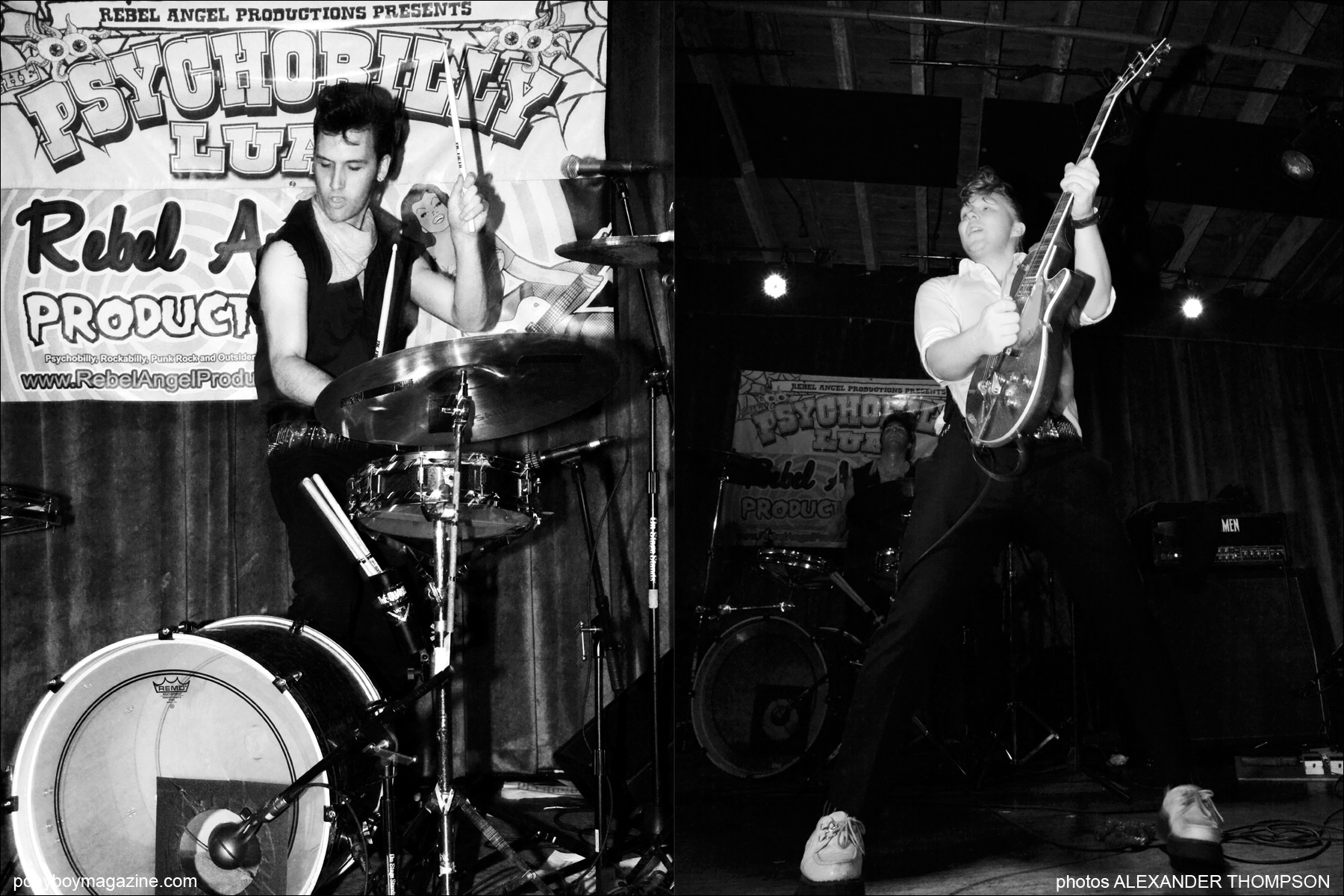Photographer Alexander Thompson captures teddy boy band Furious on stage in New York City, for Ponyboy Magazine.