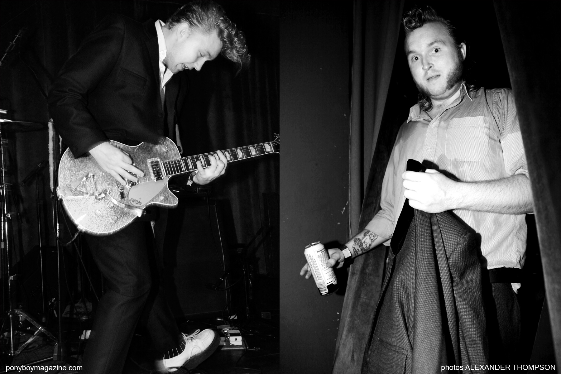 Alexander Thompson photographs of teddy boy band Furious, on stage in New York City. Photographed for Ponyboy Magazine.