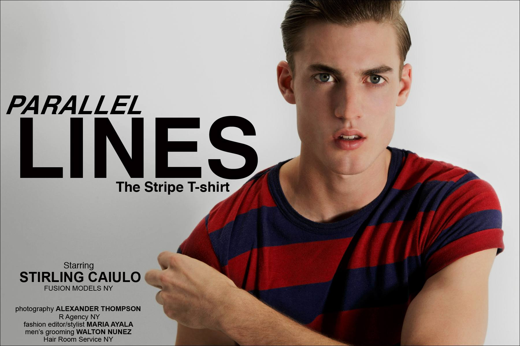 """""""Parallel Lines"""" men's stripe t-shirt editorial starring Stirling Caiulo, from the Fusion Agency New York, photographed by Alexander Thompson for Ponyboy Magazine."""