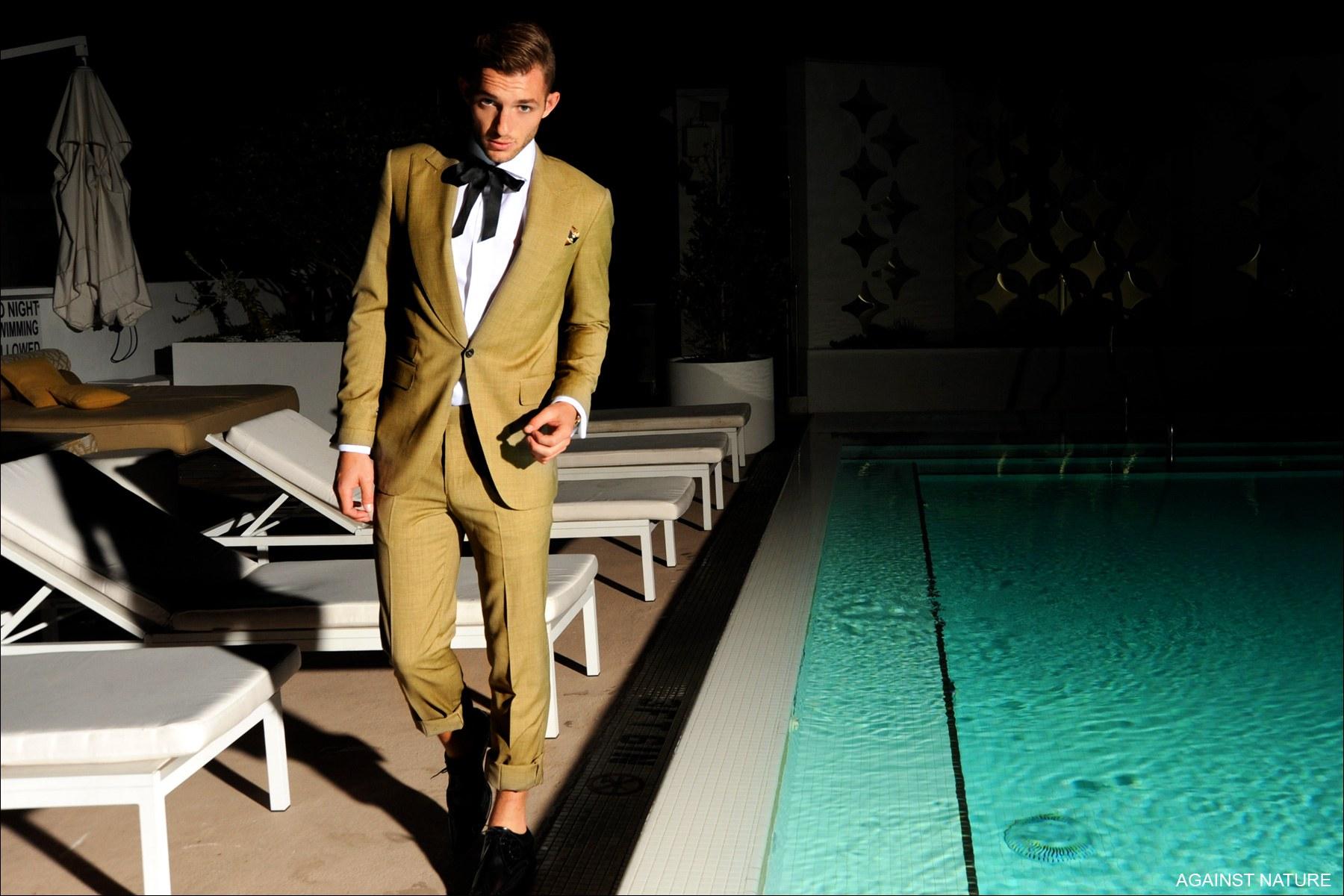 Male model in Against Nature suit, Ponyboy Magazine.