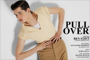 """Ben Stift opening spread for """"Pull Over"""", vintage men's editorial for Ponyboy Magazine, photographed by Alexander Thompson in New York City."""