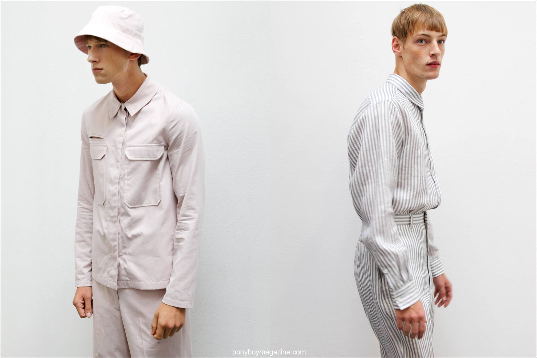 Models Botond Cseke and Roberto Sipos wearing the latest menswear designs from Duckie Brown, S/S15. Photos taken by Alexander Thompson for Ponyboy Magazine in New York City.