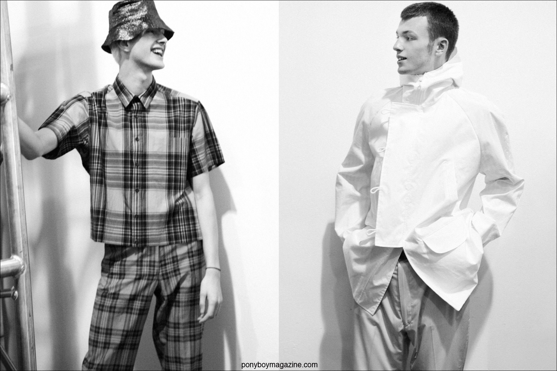 Model Benjamin Jarvis wears a plaid ensemble by Duckie Brown for Sprin/Summer 2015. Photographs by Alexander Thompson for Ponyboy Magazine.