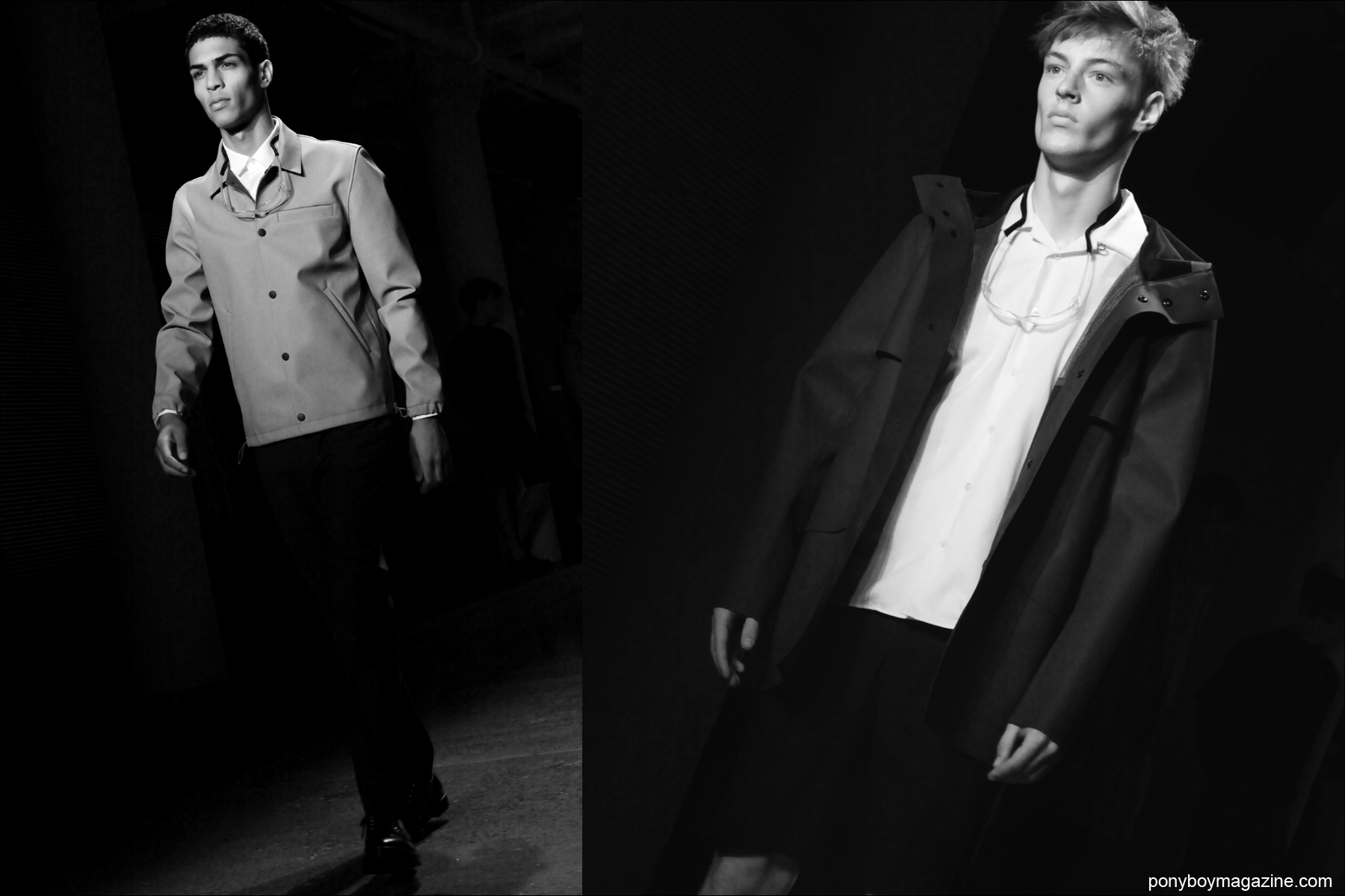 Male models Geron McKinley and Roberto Sipos walk the runway for Patrik Ervell Spring/Summer 2015 at Milk Studios NY. Photographs by Alexander Thompson for Ponyboy Magazine.