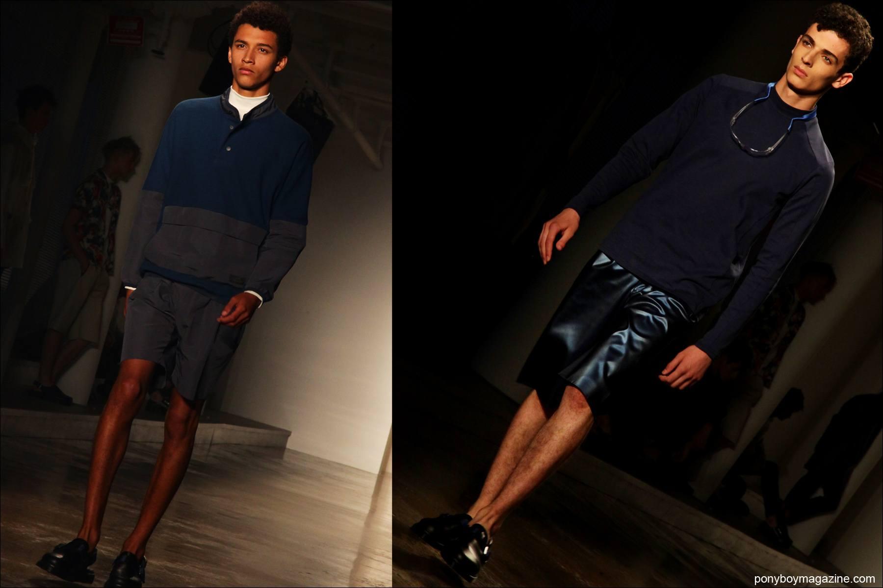 Male models walk in Spring/Summer 2015 clothing by menswear designer Patrik Ervell at Milk Studios NY. Photographs by Alexander Thompson for Ponyboy Magazine.