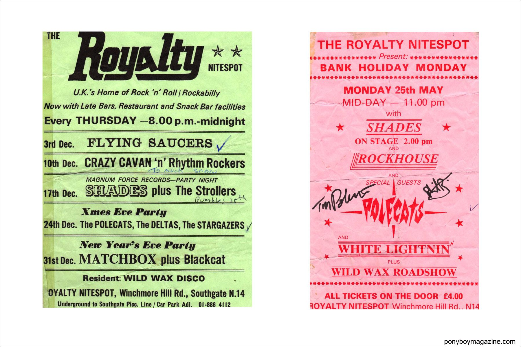 Old flyers from The Royalty Nitespot, for the Polecats live shows. Ponyboy Magazine NY.