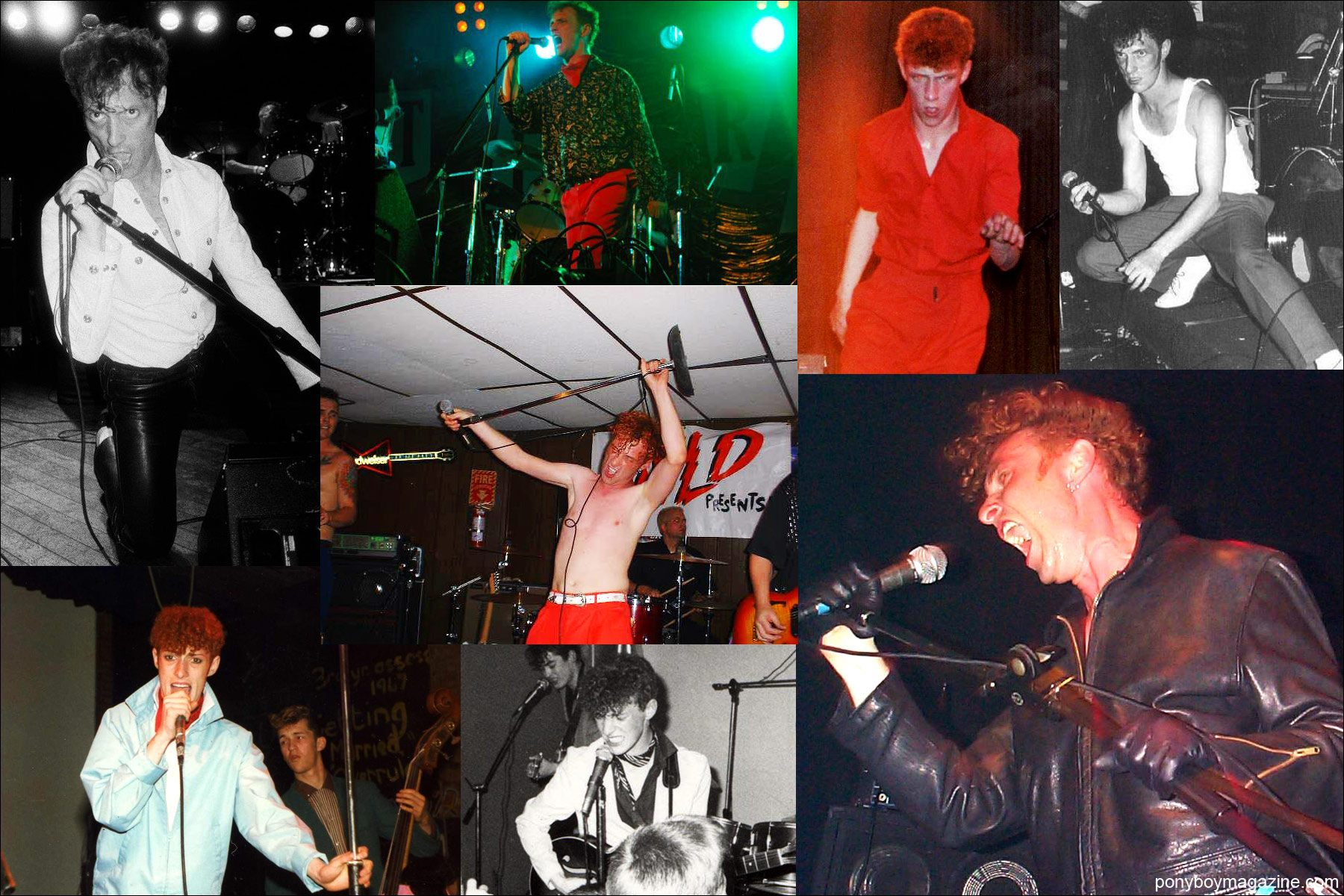 Assorted live shots of rockabilly singer Tim Polecat, from Polecats fame. Ponyboy Magazine in NY.