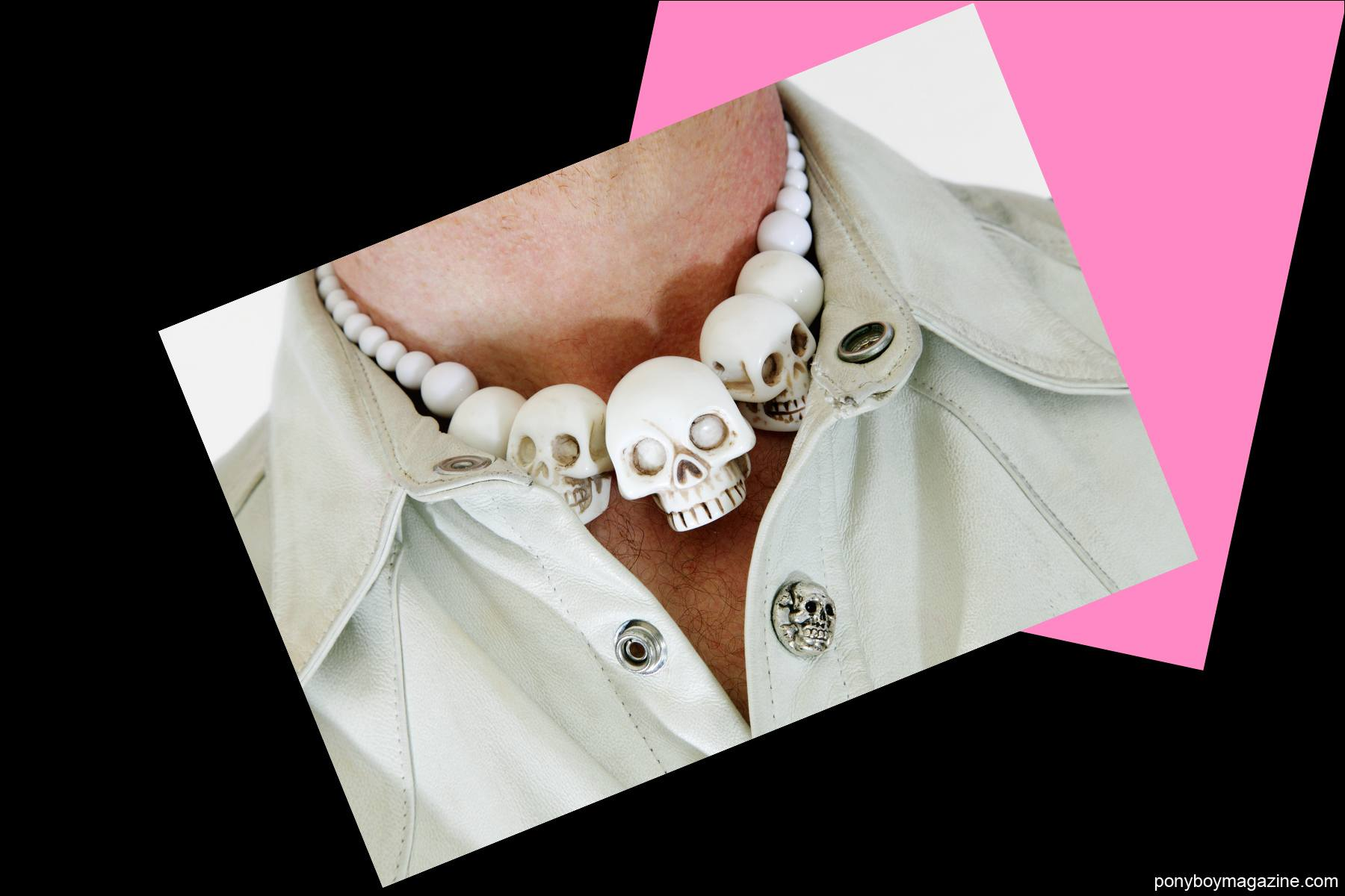 A photo of Tim Polecat's skull necklace. Photographed for Ponyboy Magazine by Alexander Thompson.