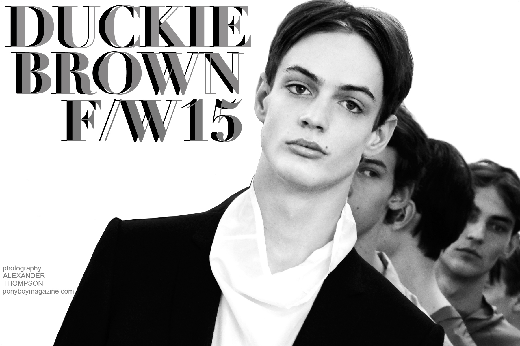 Opening spread for Ponyboy magazine backstage Duckie Brown F/W15 feature, with a photo of male model Charlie James. Photographs by Alexander Thompson.