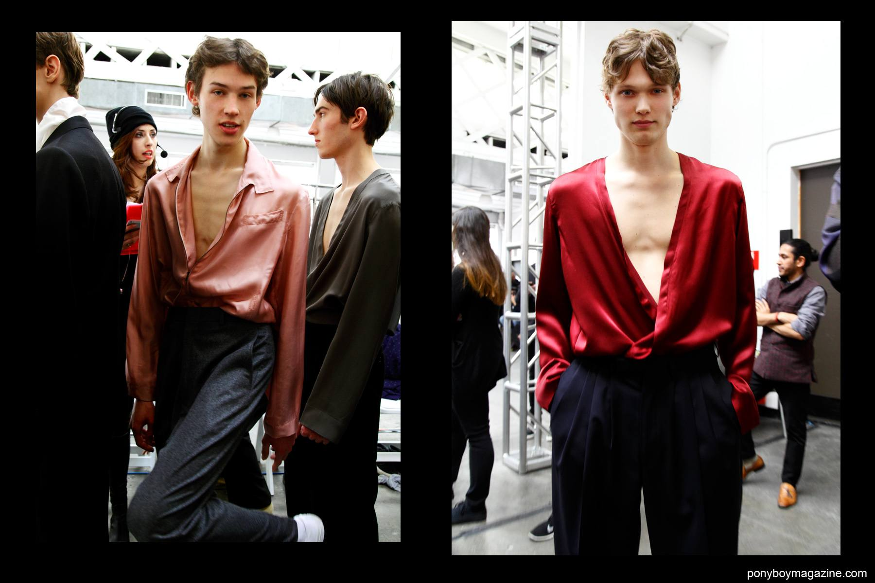 Male models photographed backstage in Duckie Brown F/W15 collection at New York City's Industria Studios. Photograph by Alexander Thompson for Ponyboy magazine.
