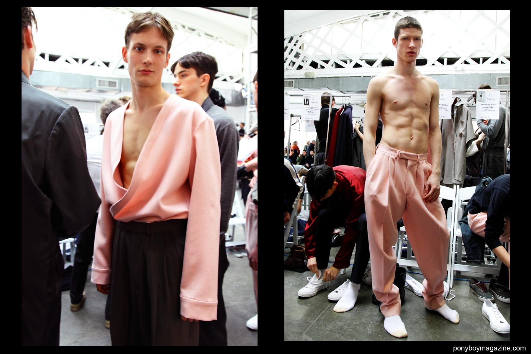 Male models Felix Gesnouin and Gleb Haradkou, snapped at Duckie Brown F/W15 by Alexander Thompson for Ponyboy magazine.