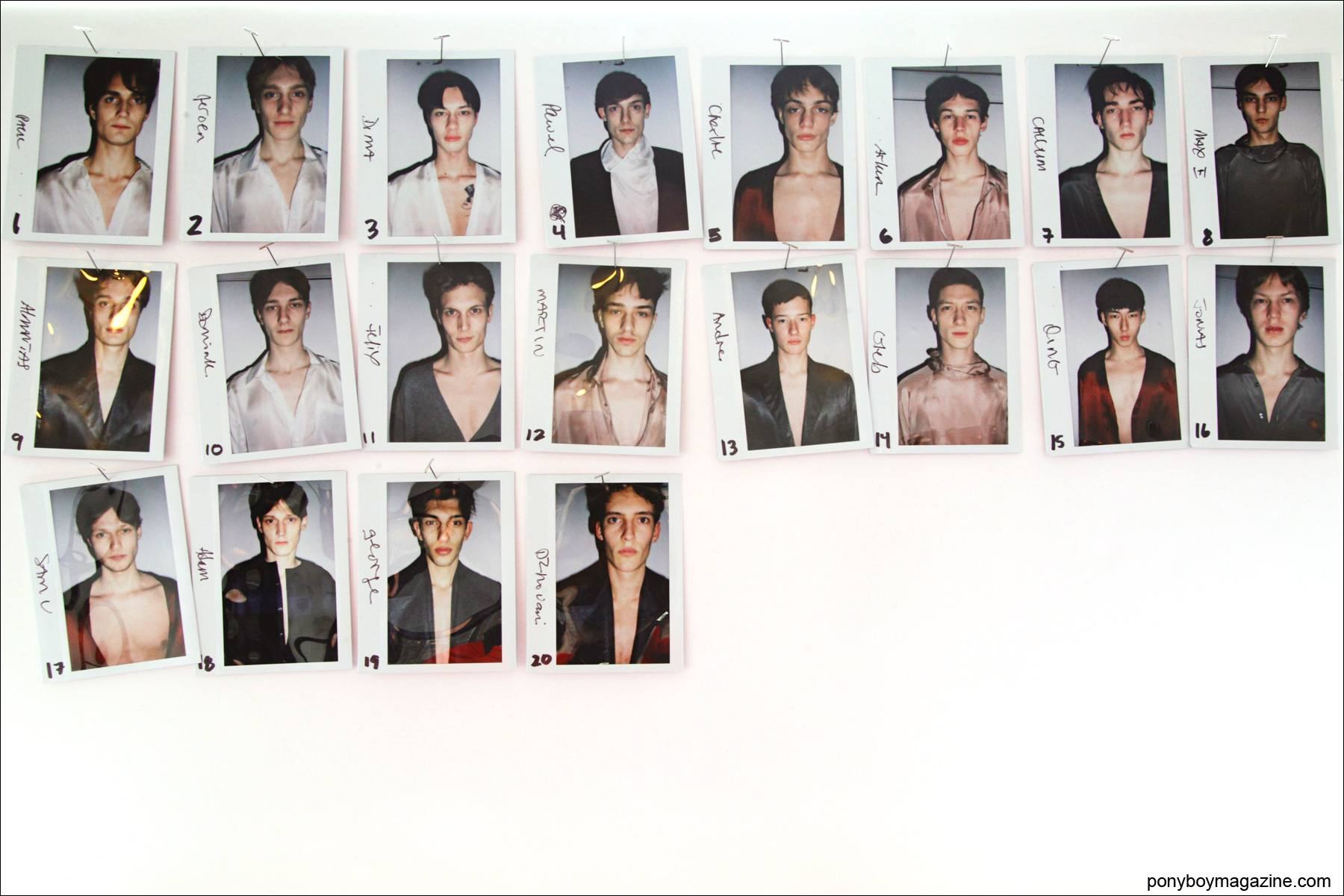 Polaroids of male models from the Duckie Brown F/W collection. Photo by Alexander Thompson for Ponyboy magazine.