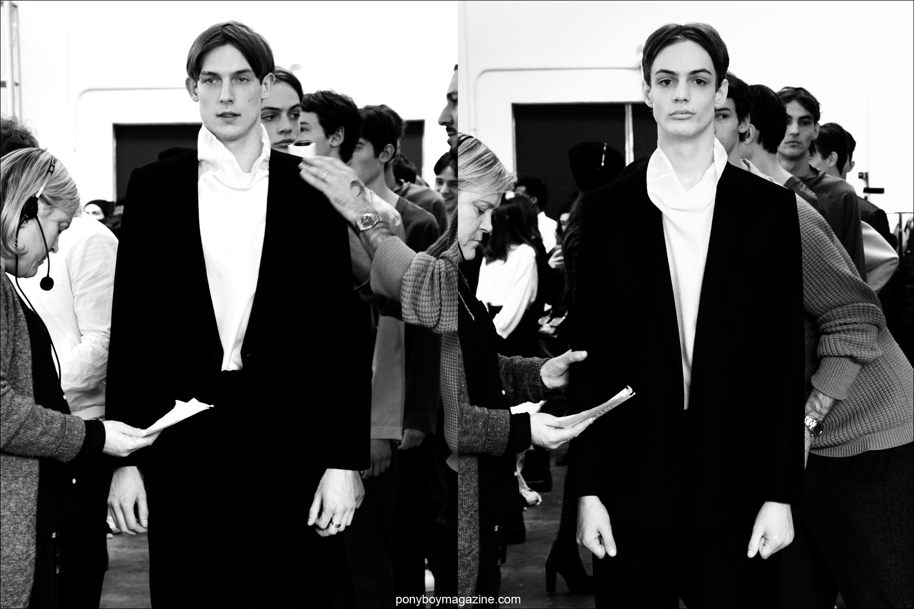Charlie James photographed backstage at Duckie Brown F/W15, before walking the runway. Photographed at Industria Studios in New York City by Alexander Thompson for Ponyboy magazine.