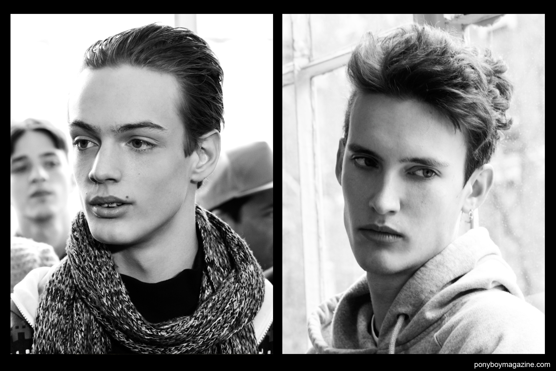 B&W photos of male models Charlie James and Dzhovani Gospodinov, backstage at the Duckie Brown F/W15 menwear show. Photographed by Alexander Thompson for Ponyboy magazine.