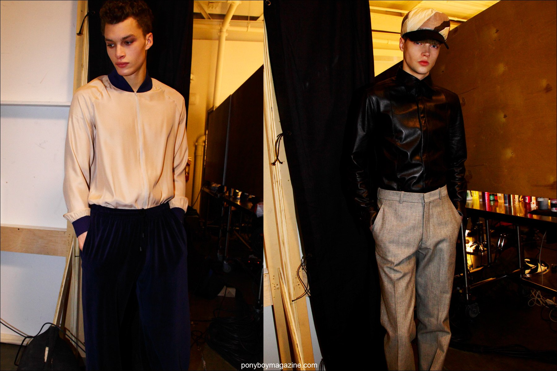 Menswear by New York designer Martin Keehn, F/W15 collection, photographed backstage at Pier 59 Studios NY by Alexander Thompson for Ponyboy magazine.