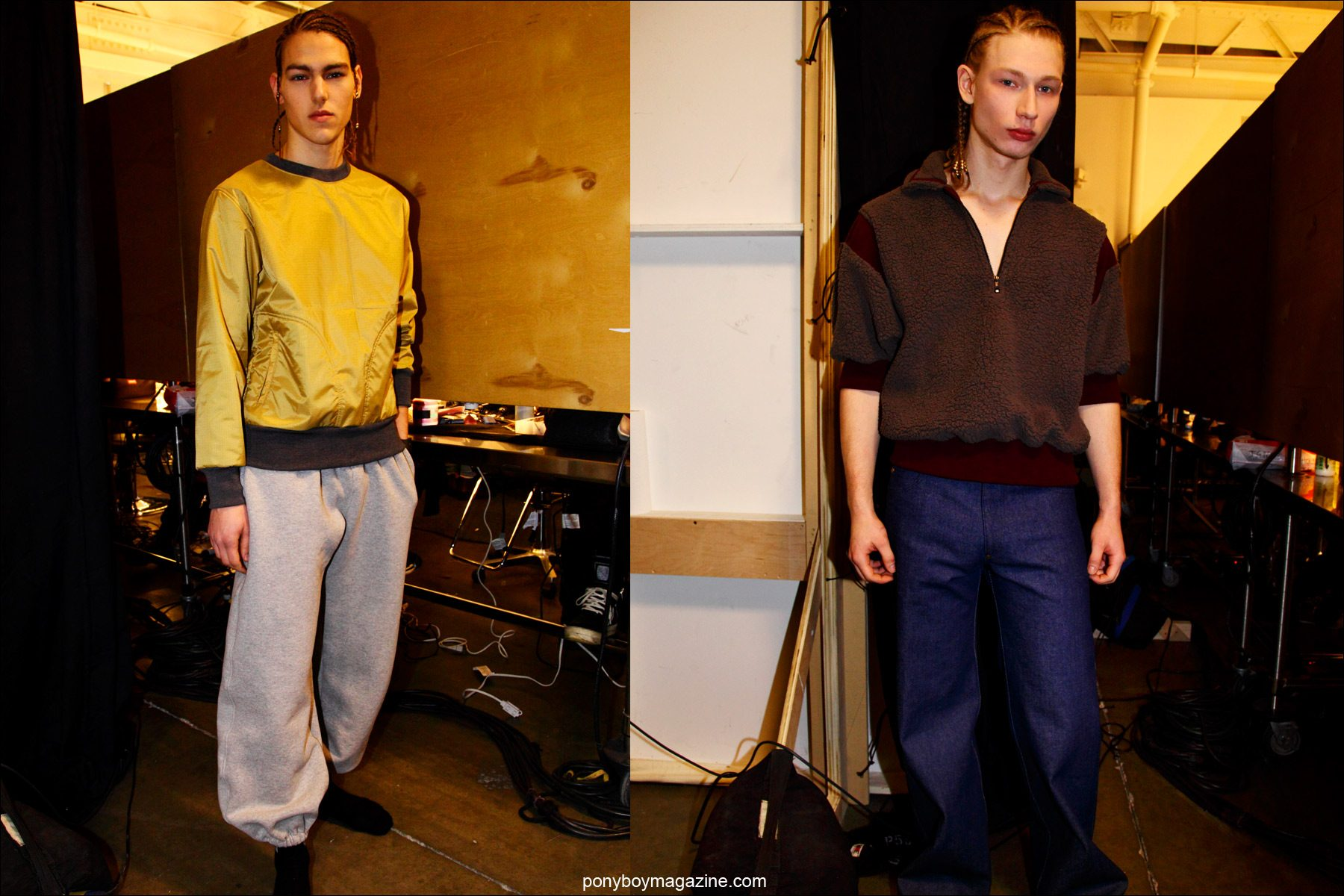 Male models wearing the latest menswear by New York designer Martin Keehn, F/W15 collection. Photographed backstage at Pier 59 Studios NY by Ponyboy magazine photographer Alexander Thompson.