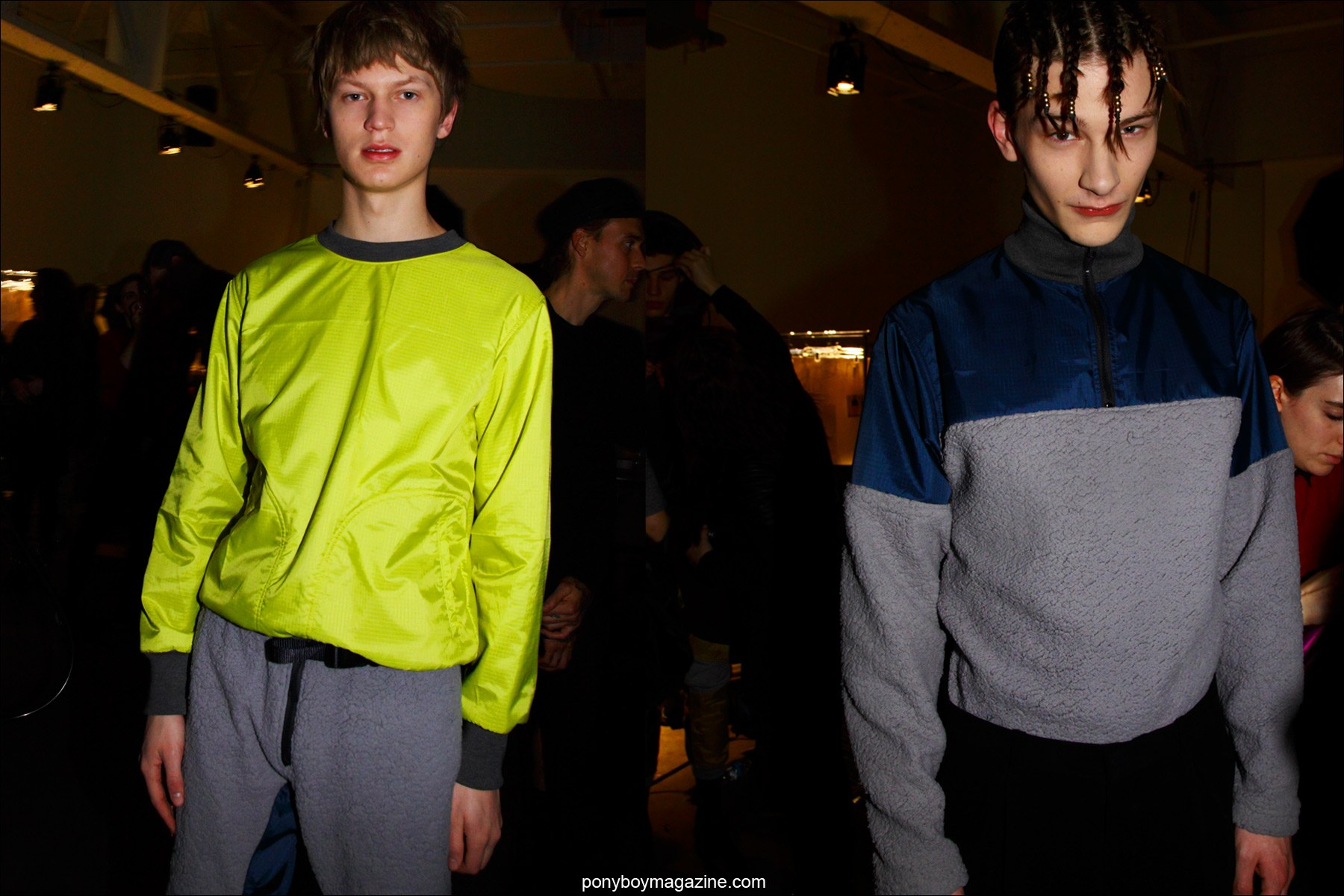 Male models Jonas Gloer and Dominik Hahn photographed backstage at the Martin Keehn Fall/Winter 15 menswear show. Photography by Alexander Thompson for Ponyboy magazine.