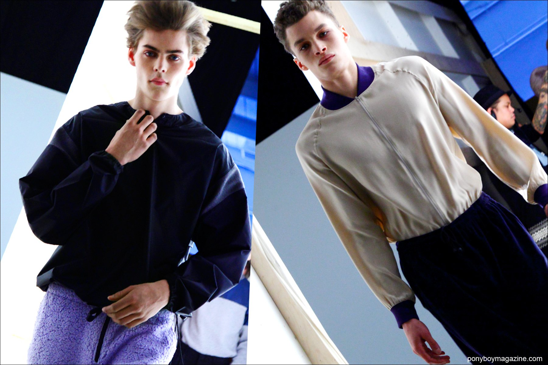 Male models, including Mats Van Snippenberg, exiting the Martin Keen F/W15 runway show at Pier 59 Studios New York. Photographs by Alexander Thompson for Ponyboy magazine.