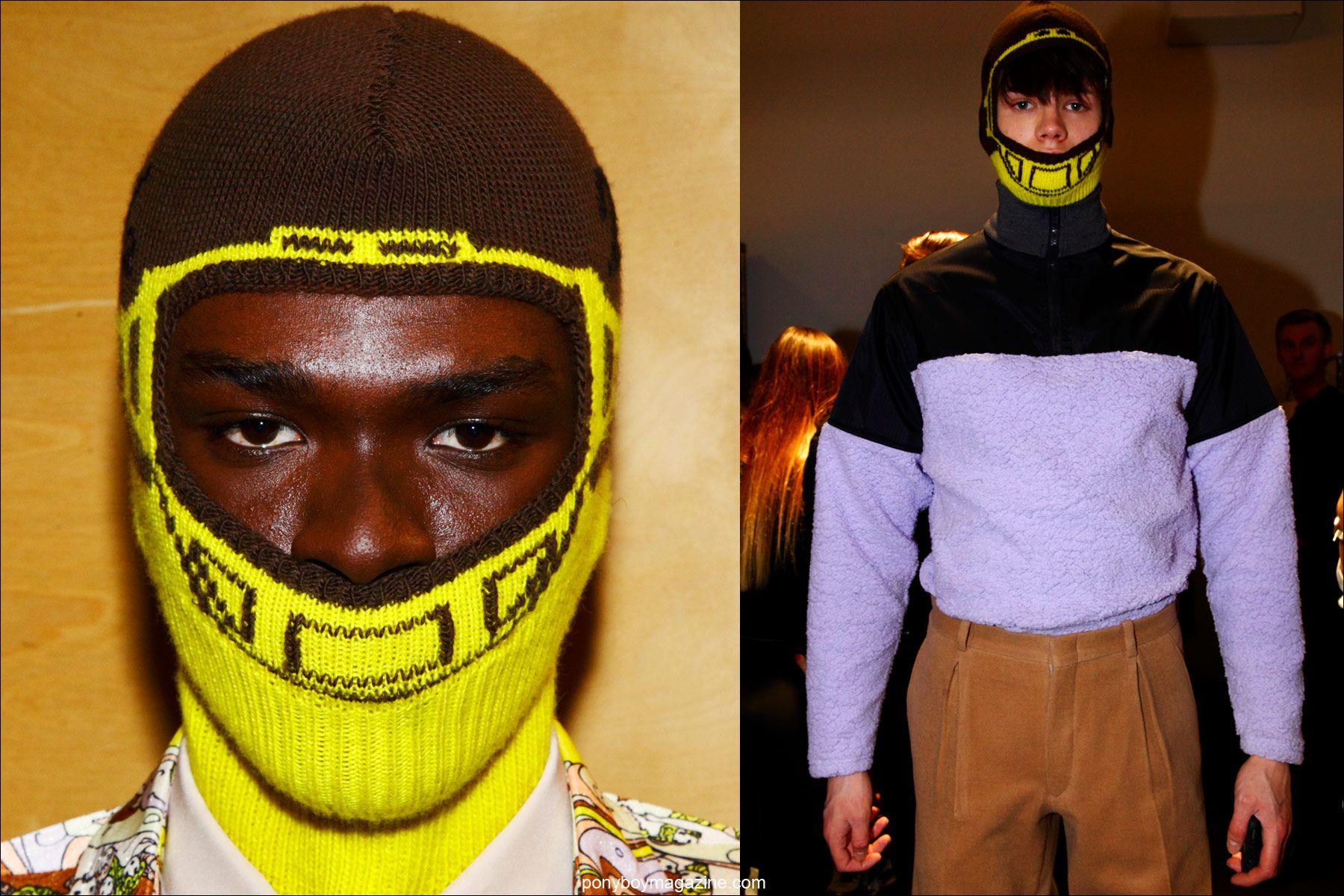 Ski masks by menswear designer Martin Keehn, F/W15 collection, at Pier 59 Studios New York. Photos by Ponyboy magazine photographer Alexander Thompson.
