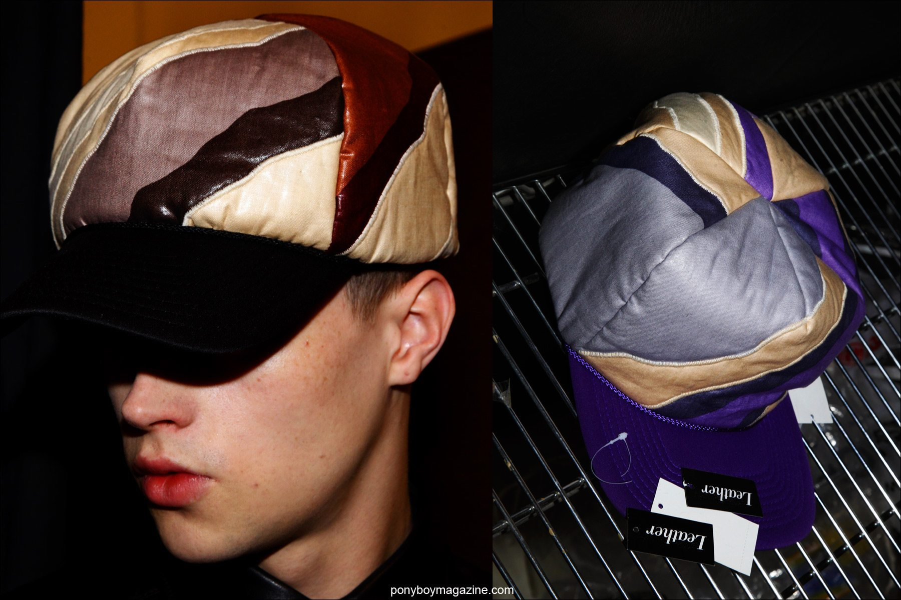 Detail shots of caps by menswear designer Martin Keehn, F/W15 collection, photographed at Pier 59 Studios NY by Ponyboy magazine photographer Alexander Thompson.