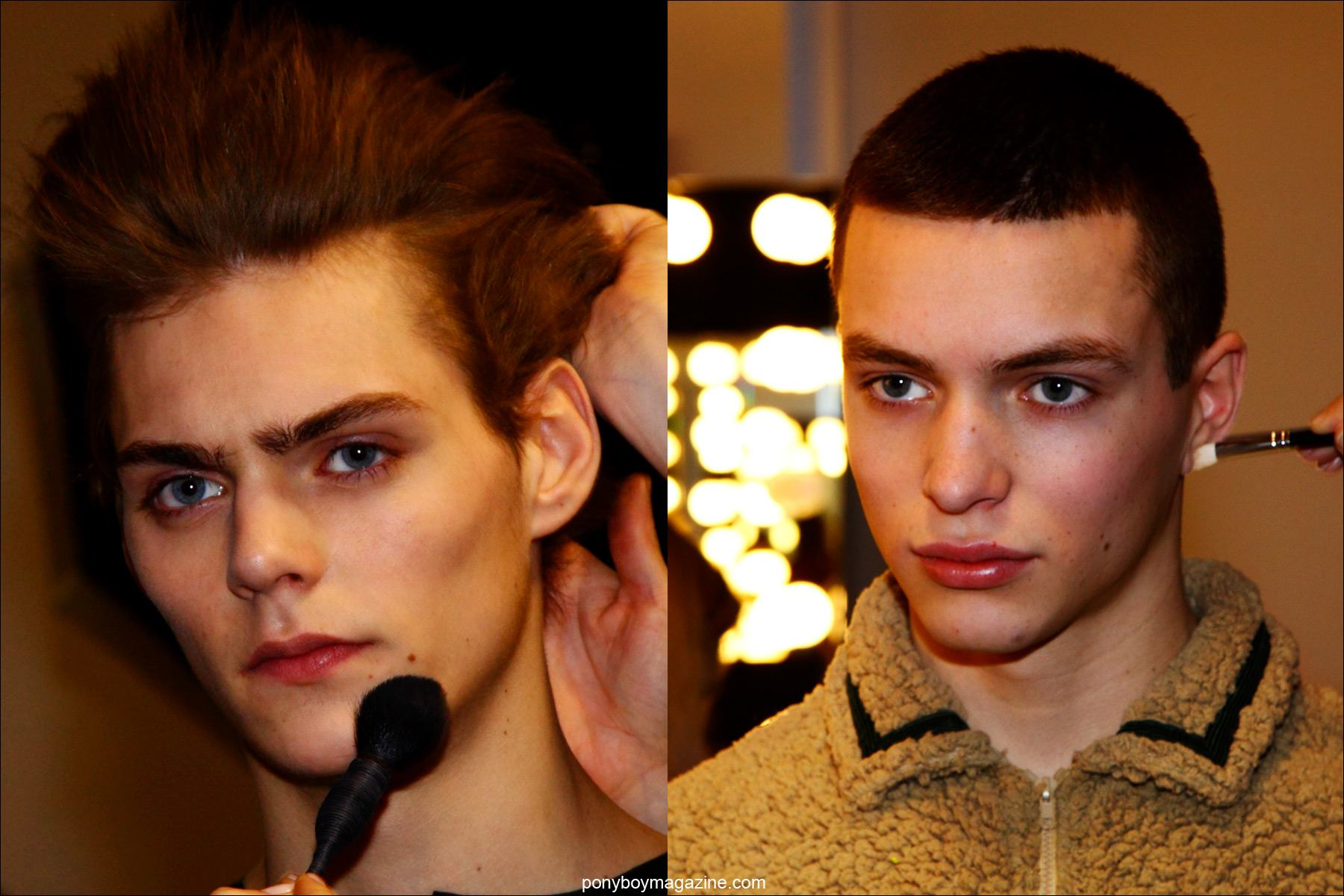 Male model Max Van Snippenberg, photographed by Alexander Thompson for Ponyboy magazine, backstage in makeup at the Martin Keehn F/W15 menswear collection at Pier 59 Studios New York City.