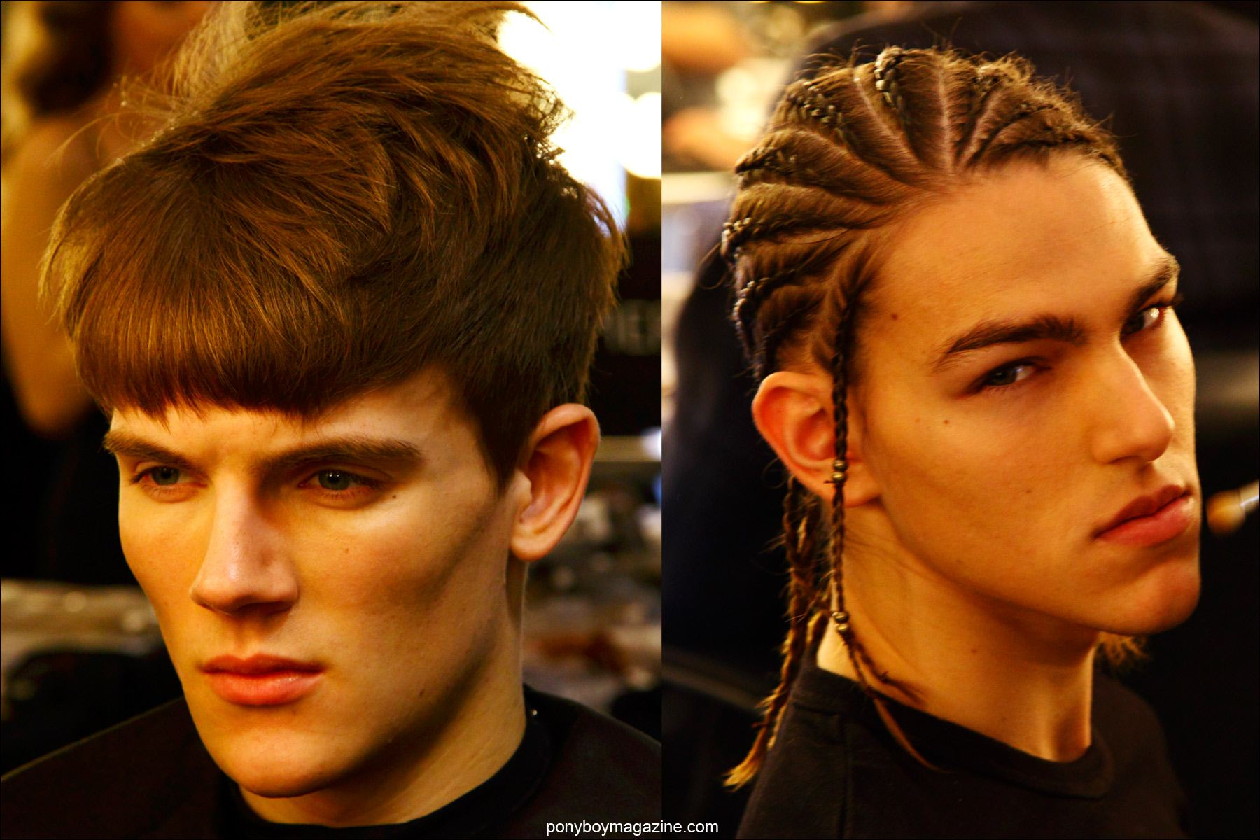 Male models backstage in hair, photographed at Pier 59 Studios for Martin Keehn F/W15 menswear collection. Photographs by Alexander Thompson for Ponyboy magazine.