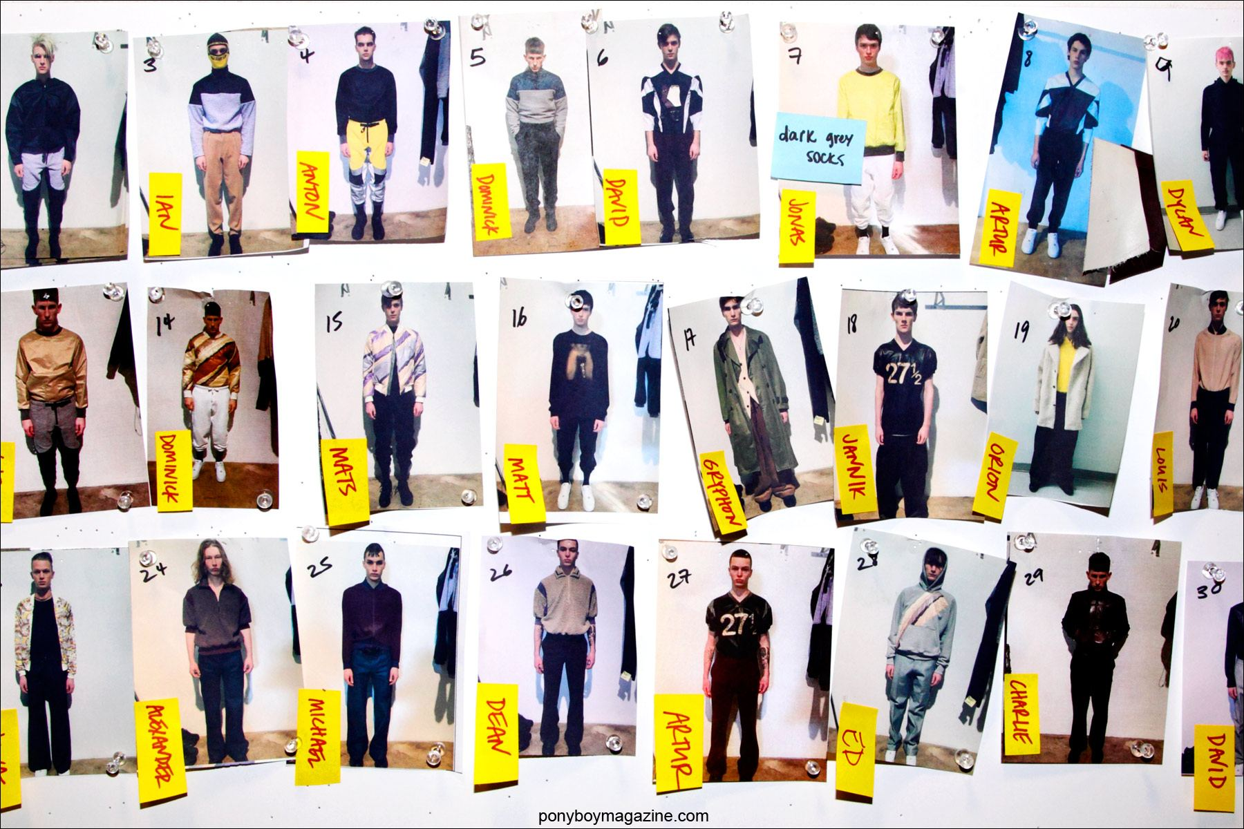 Assorted photographs of male models, backstage at New York menswear designer Martin Keehn's F/W15 collection at Pier 59 Studios NY. Photograph by Alexander Thompson for Ponyboy magazine.