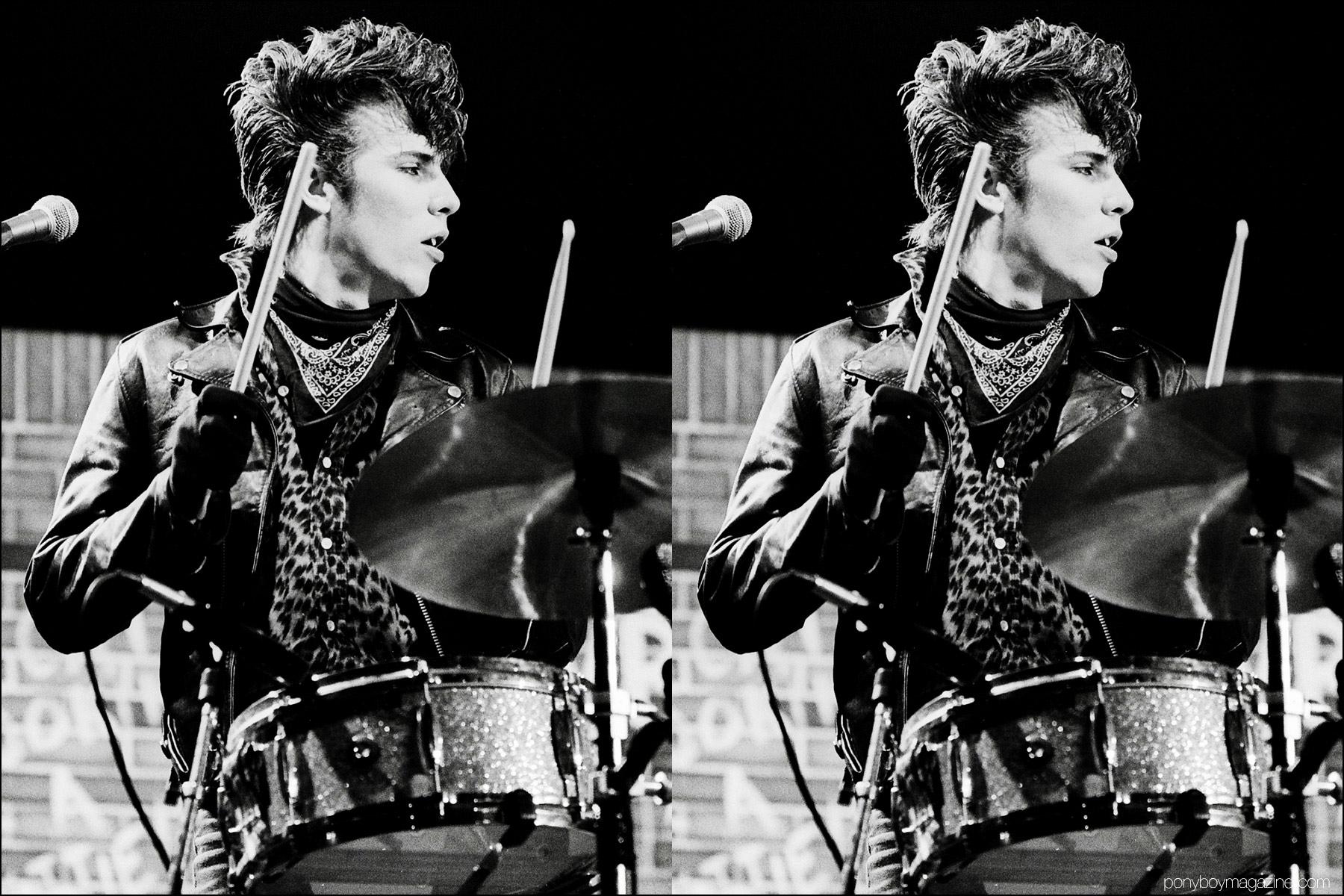 1980's neo-rockabilly drummer Slim Jim Phantom photographed onstage in Germany by Manfred Becker. Ponyboy magazine NY.
