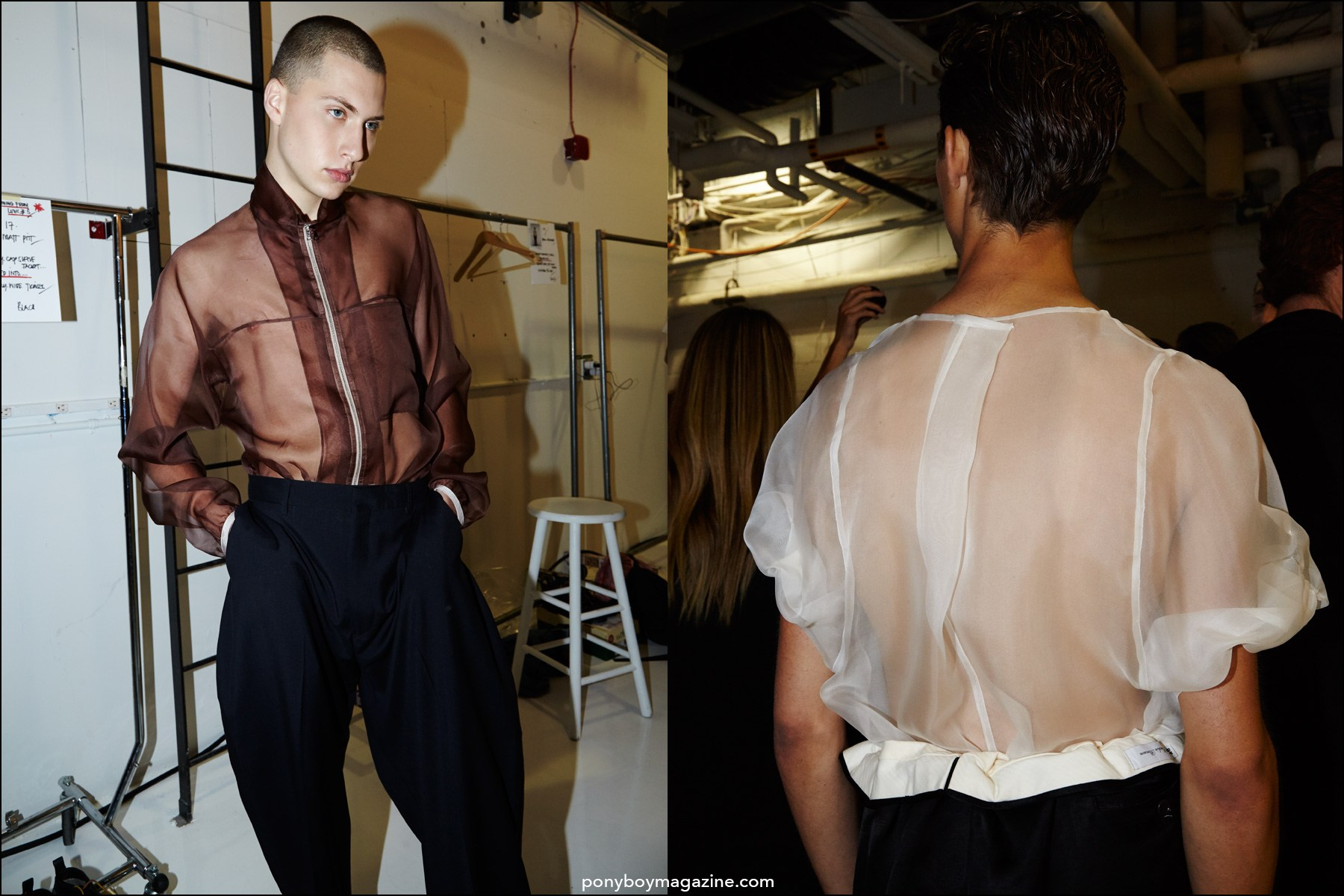 Models in sheer organza shirts, backstage at Duckie Brown Spring/Summer 2016 collection. Photography by Alexander Thompson for Ponyboy magazine NY.