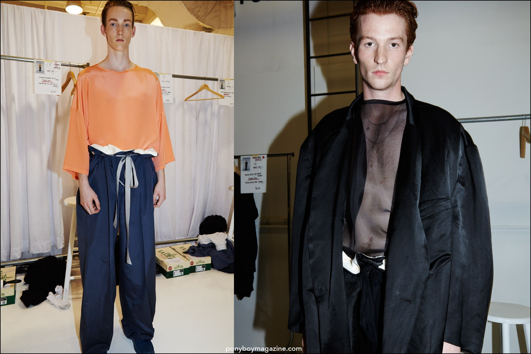 Red-headed models Matt Pitt and Greg France, photographed backstage at the Duckie Brown Spring/Summer 2016 menswear collection. Photographs by Alexander Thompson for Ponyboy magazine NY.