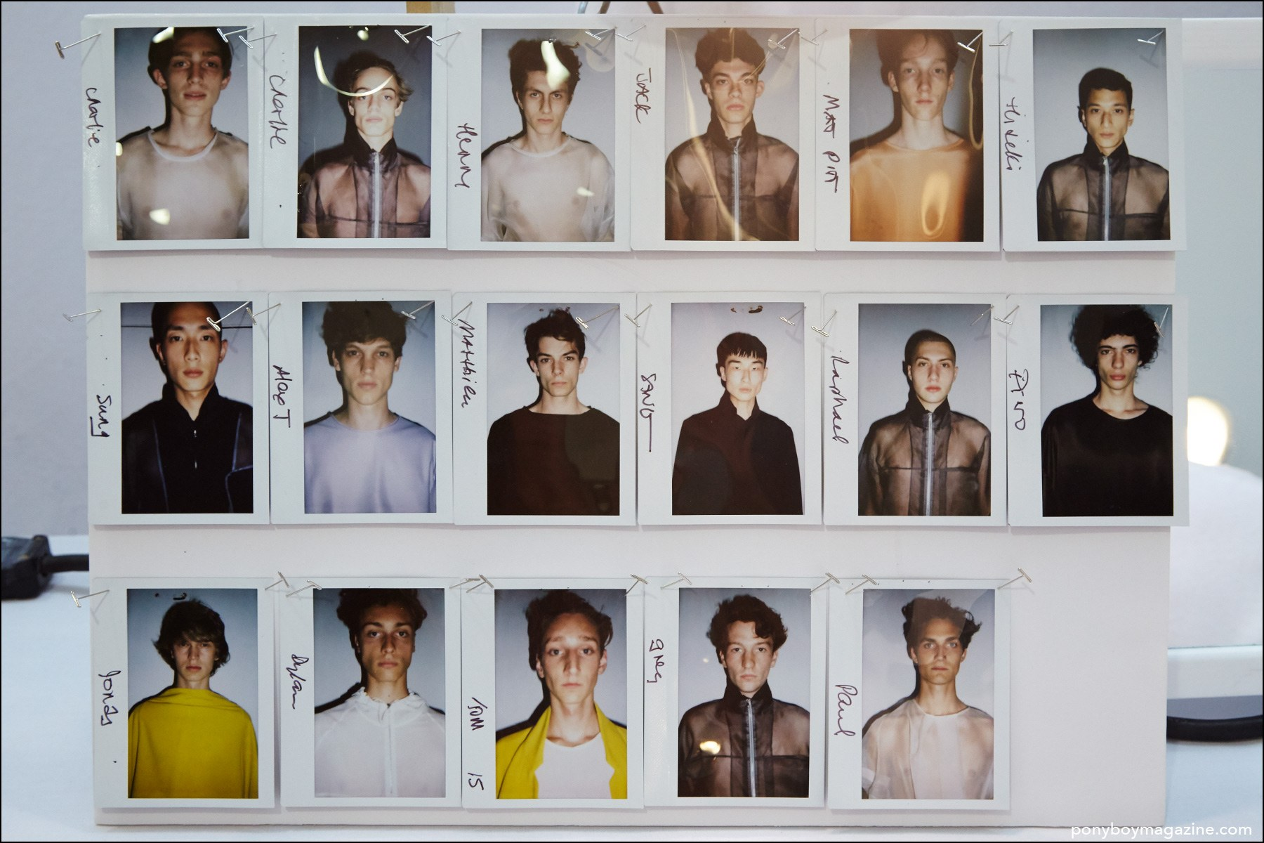 Polaroids of male models, backstage at Duckie Brown Spring/Summer 2016 menswear show. Photograph by Alexander Thompson for Ponyboy magazine NY.