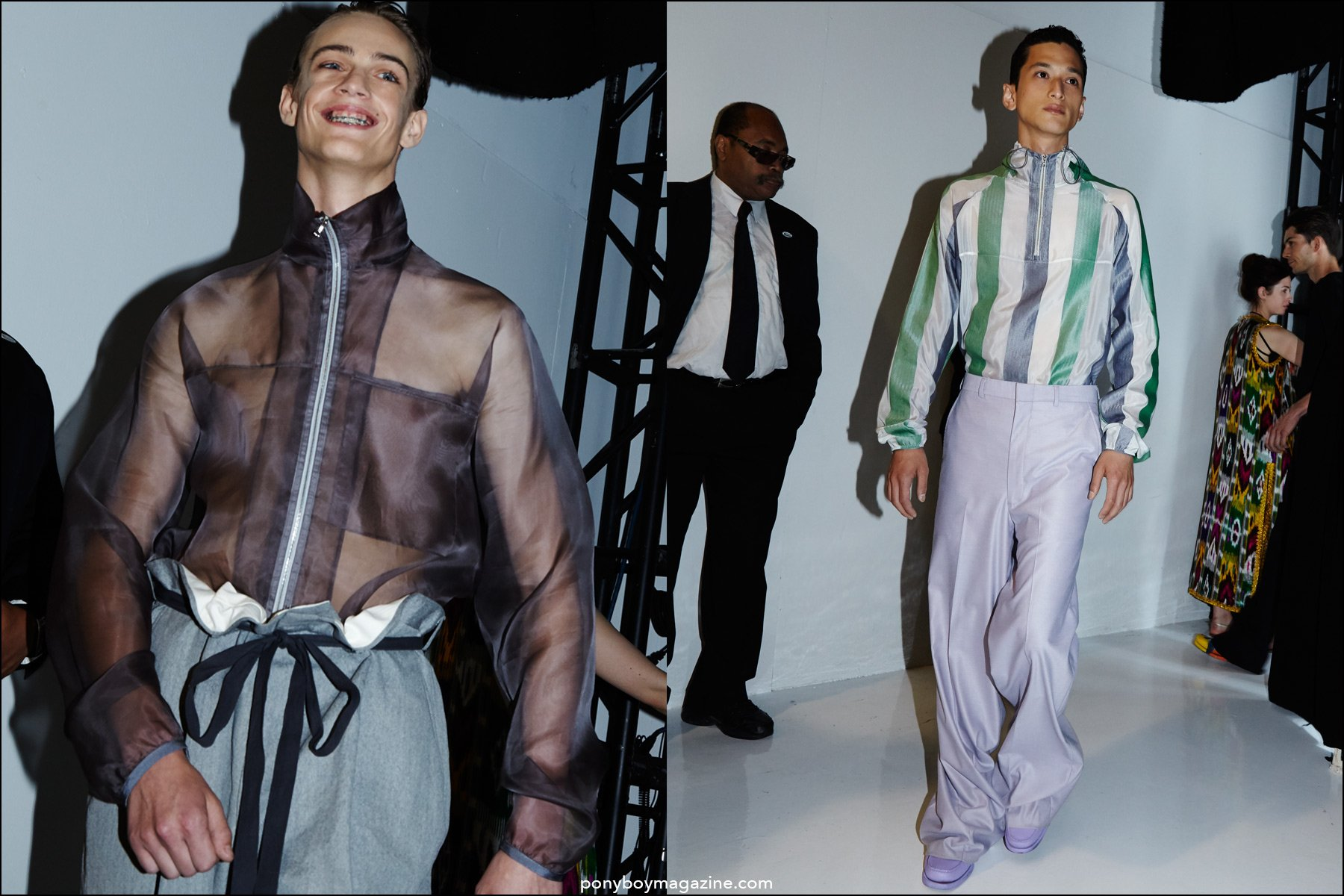 Models Charlie James and Hideki Asahina exit the runway at Duckie Brown S/S16 menswear collection. Photographed by Alexander Thompson for Ponyboy magazine NY.