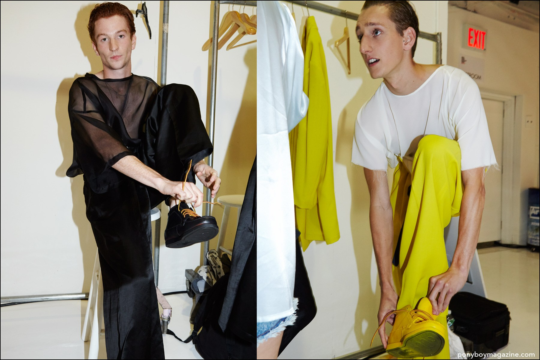 Models Greg France and Tom Gaskin, photographed dressing at the Duckie Brown Spring/Summer 2016 menswear collection. Photography by Alexander Thompson for Ponyboy magazine NY.