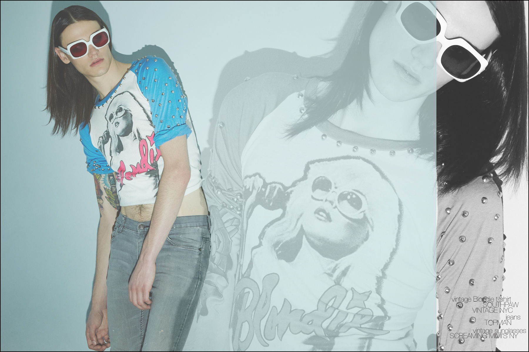 Model Gustavo Sanches photographed in a vintage Blondie rock shirt for Ponyboy magazine men's editorial. Photography by Alexander Thompson for Ponyboy magazine NY.