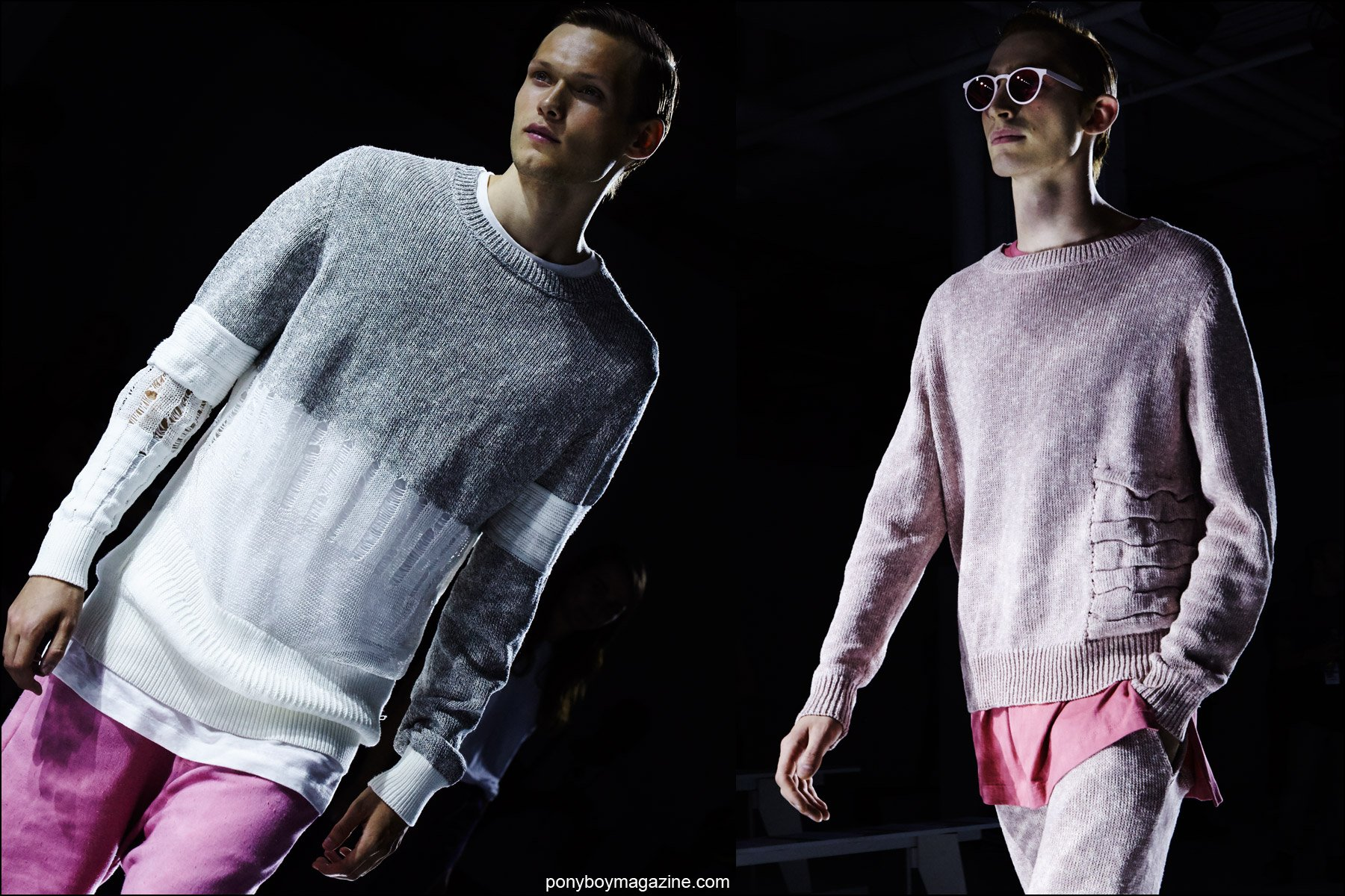 Incredible knitwear by Rochambeau menswear, for Spring/Summer 2016. Photographed by Alexander Thompson for Ponyboy magazine NY.