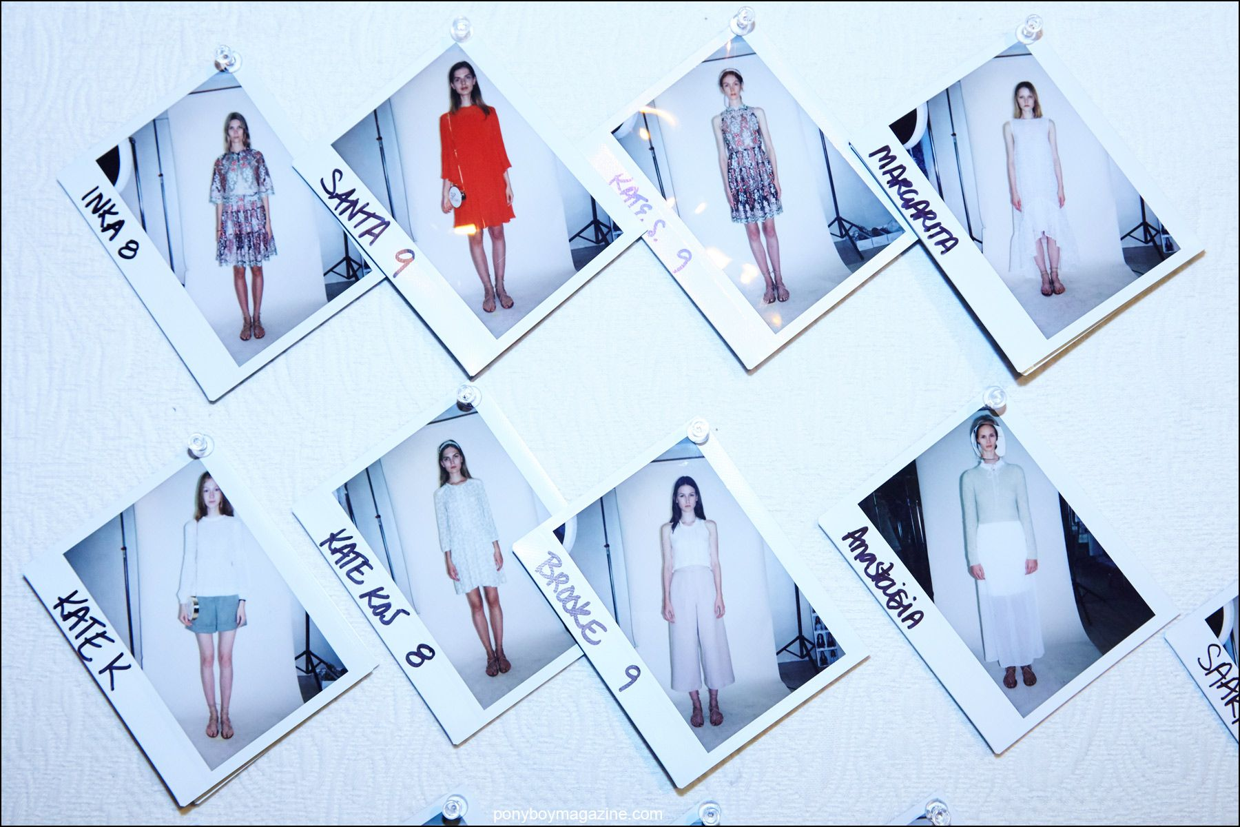 Polaroids of models in Erin Fetherston Spring/Summer 2016 collection. Photograph by Alexander Thompson for Ponyboy magazine NY.