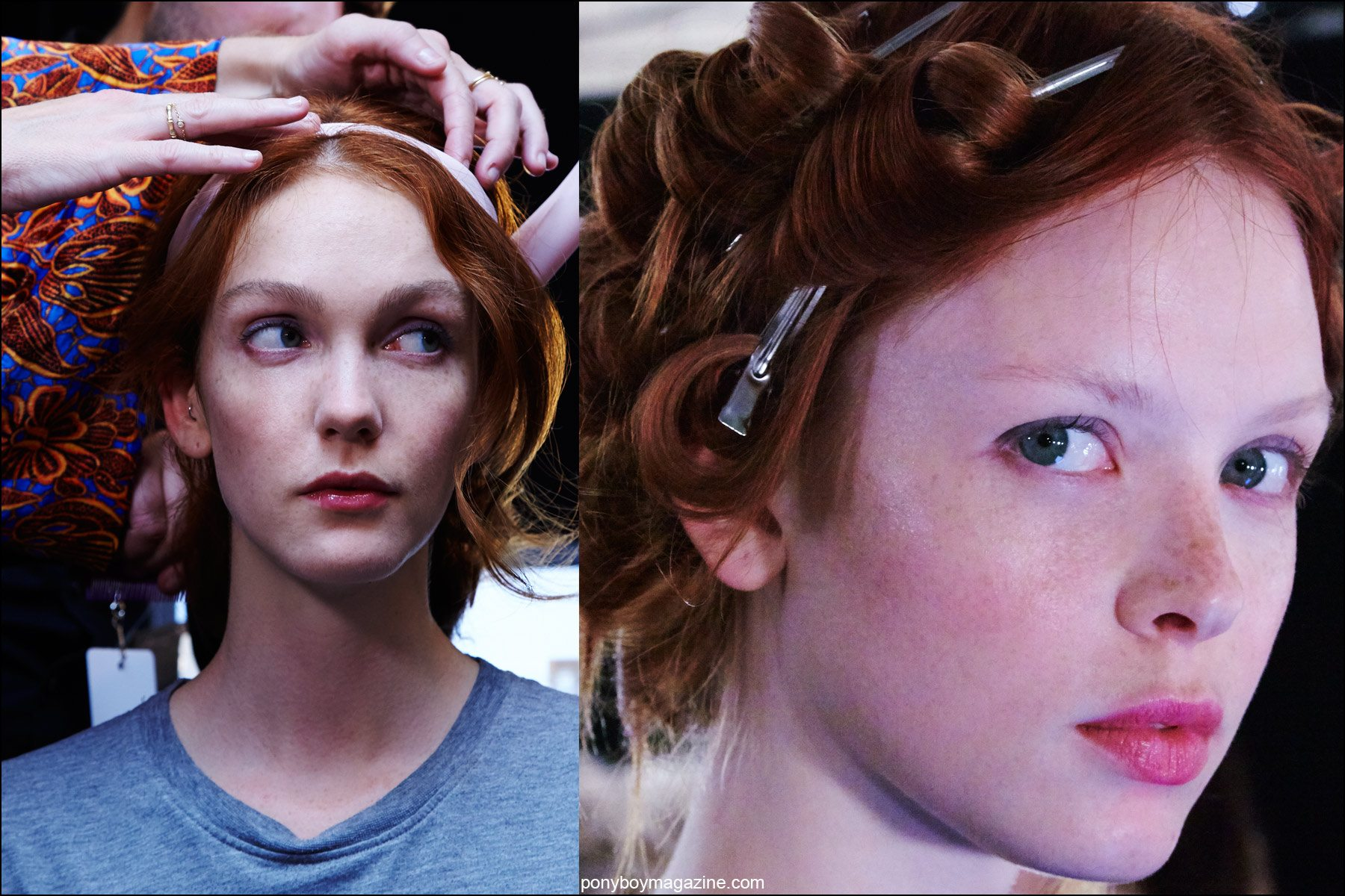 Backstage snapshots of models in hair at Erin Fetherston Spring/Summer 2016 show. Photographed for Ponyboy magazine NY by Alexander Thompson.