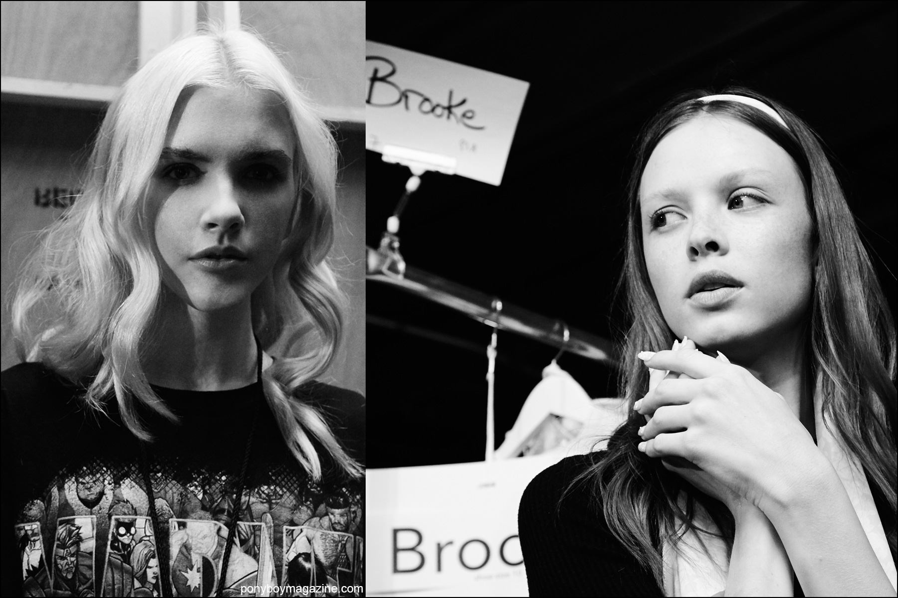 B&W photos of models backstage at Erin Fetherston Spring/Summer 2016 collection. Photographs by Alexander Thompson for Ponyboy magazine NY.