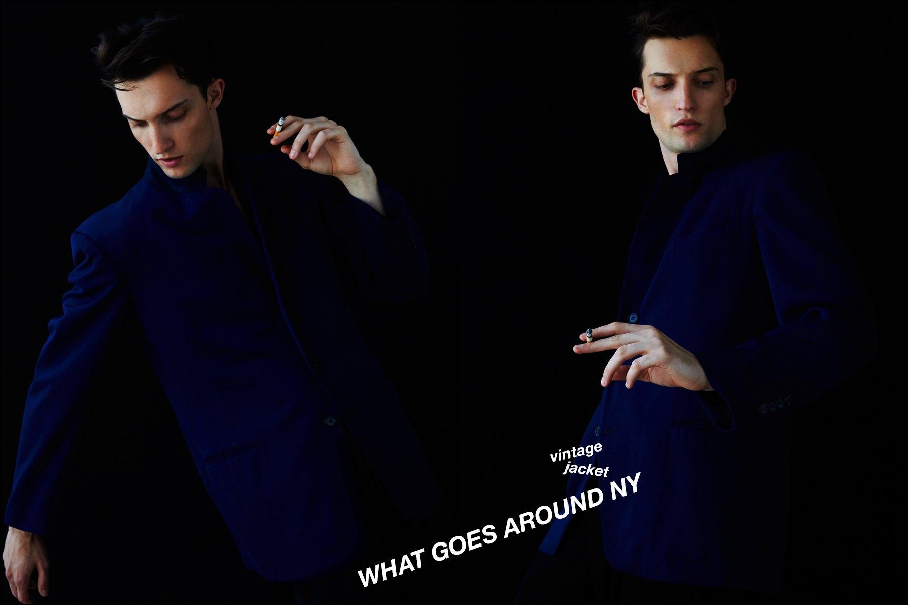 Max Von Isser for Ponyboy magazine menswear vintage jacket editorial. Photographed by Alexander Thompson in New York City.