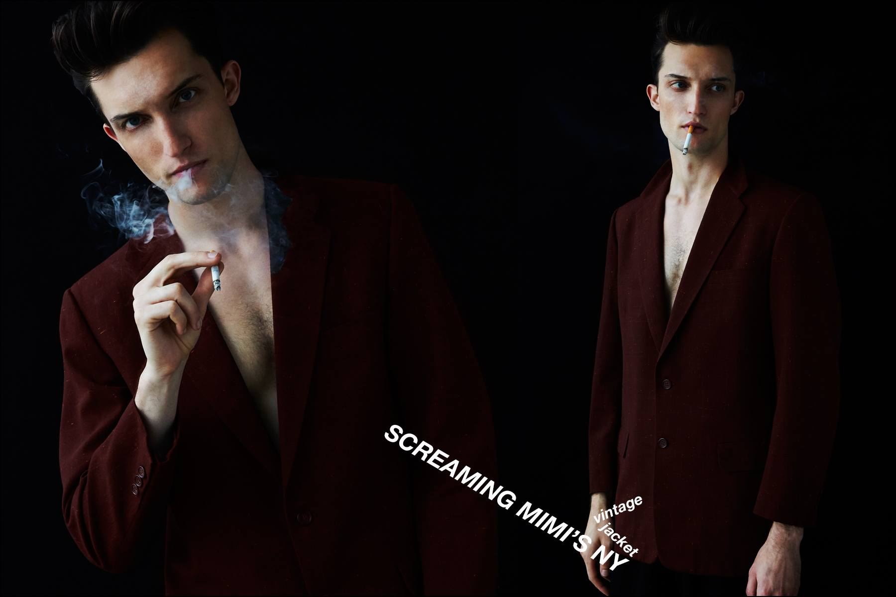 Male model Max Von Isser photographed in vintage suit jackets by Alexander Thompson for Ponyboy magazine NY.