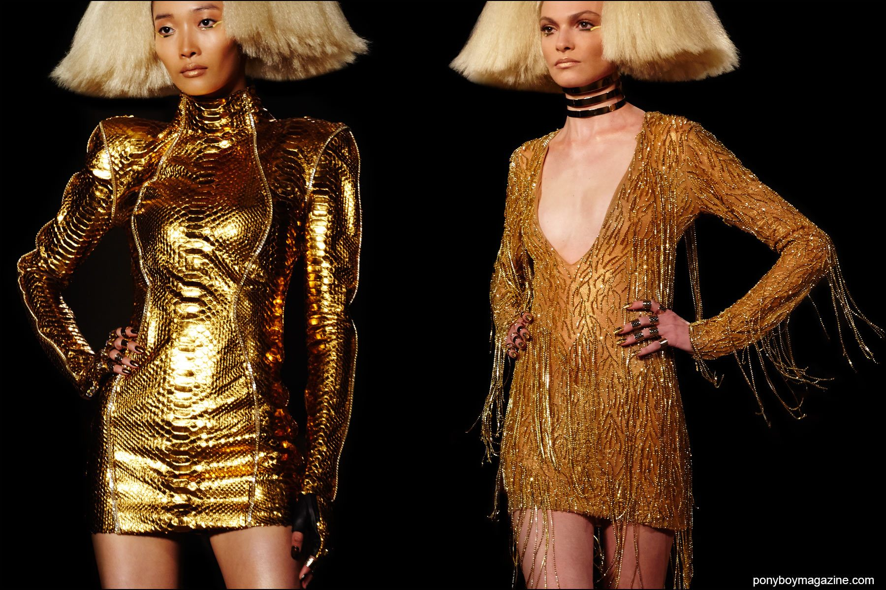 Gold mini dresses, on the runway at the Blonds S/S16 show. Photography by Alexander Thompson for Ponyboy magazine NY.