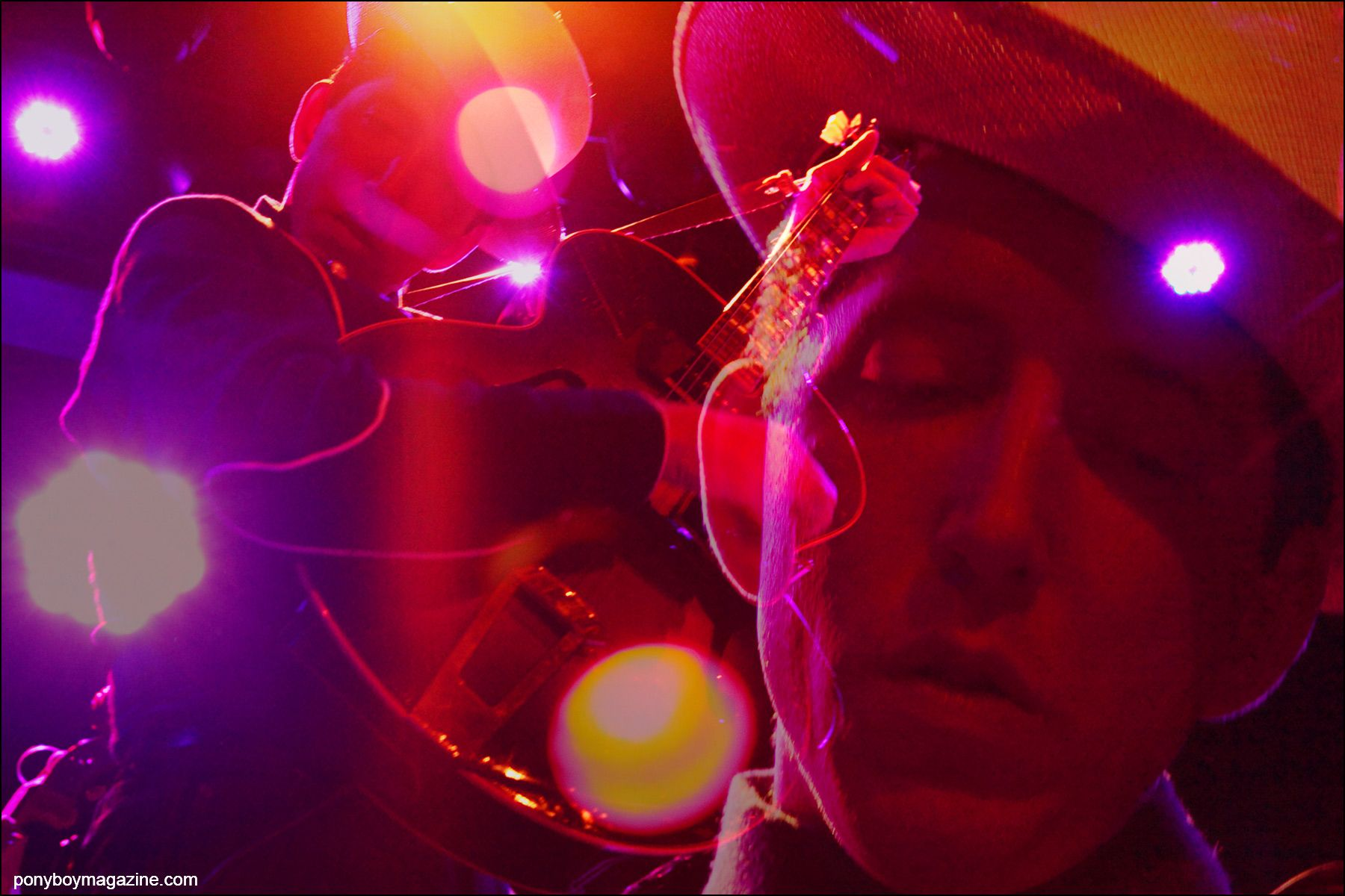 Colorful photographs of musician Pokey LaFarge, photographed onstage at Bowery Ballroom in New York City. Photography by Alexander Thompson for Ponyboy magazine NY.