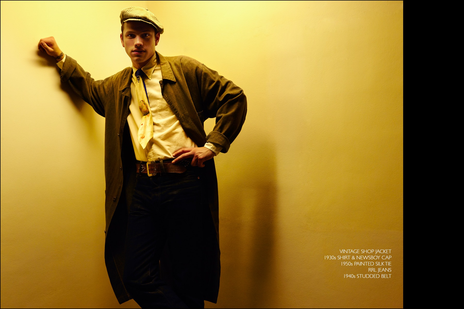 Rockabilly drummer Ben Heymann, from NYC band The Bothers, photographed in vintage menswear from New York showroom Dated Vintage. Photographed by Alexander Thompson for Ponyboy magazine NY.